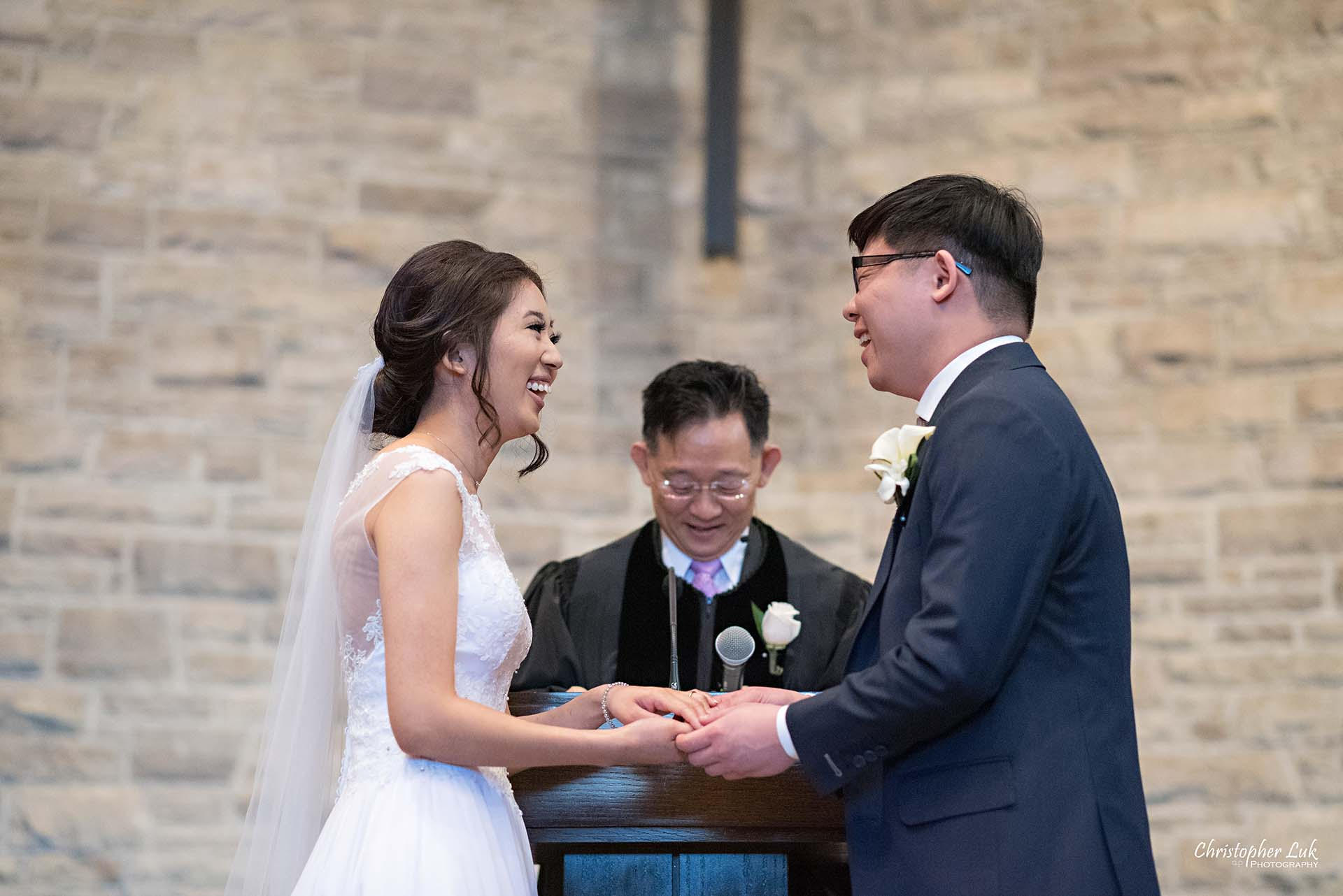 Christopher Luk Toronto Wedding Photographer - Natural Candid Photojournalistic Bride Groom Immanuel Baptist Church Ceremony Altar Vows Laugh Smile
