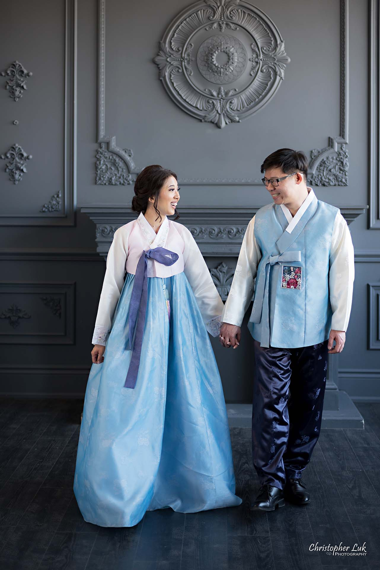 Christopher Luk Toronto Wedding Photographer - Mint Room Studios Bride Groom Natural Candid Photojournalistic Library Studio Korean Drama Hanbok Fireplace Walking Together Holding Hands