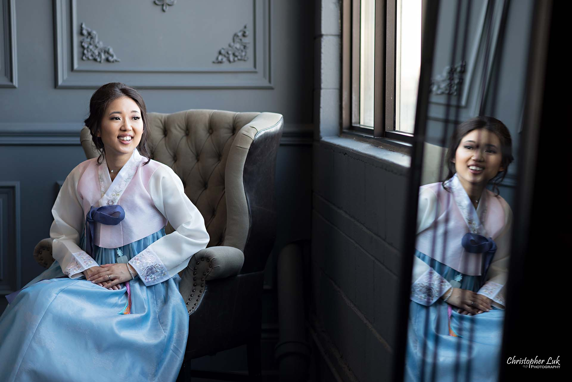 Christopher Luk Toronto Wedding Photographer - Mint Room Studios Bride Natural Candid Photojournalistic Library Studio Korean Drama Hanbok Leather Wingback Chair Mirror
