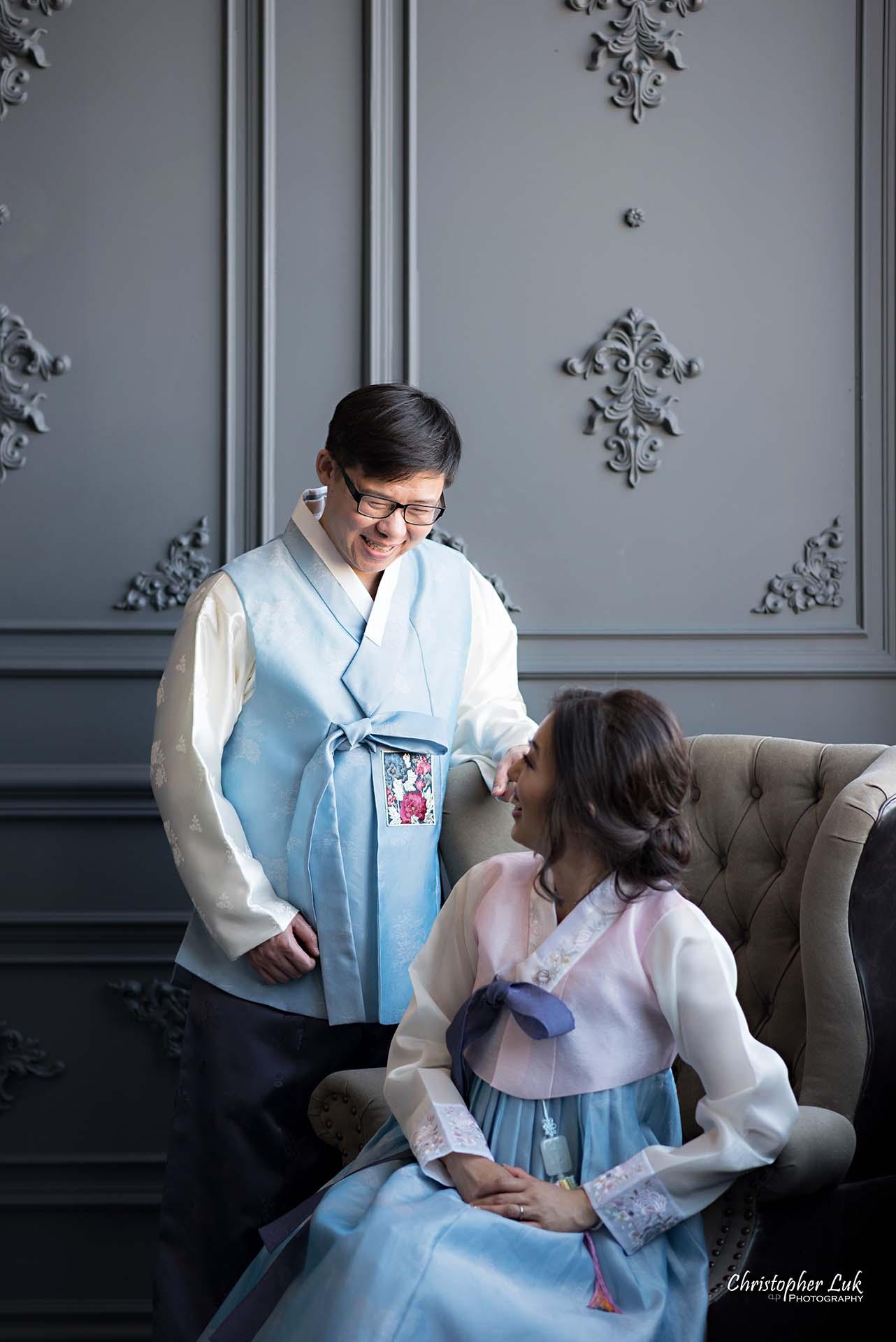 Christopher Luk Toronto Wedding Photographer - Mint Room Studios Bride Groom Natural Candid Photojournalistic Library Studio Korean Drama Hanbok Leather Wingback Chair