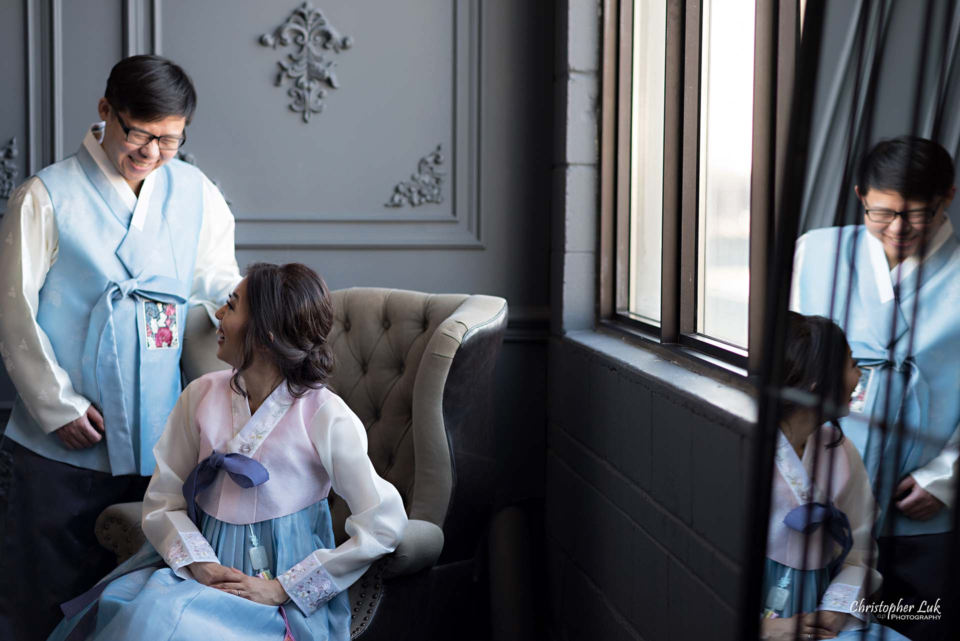 Christopher Luk Toronto Wedding Photographer - Mint Room Studios Bride Groom Natural Candid Photojournalistic Library Studio Korean Drama Hanbok Leather Wingback Chair Mirror Wide