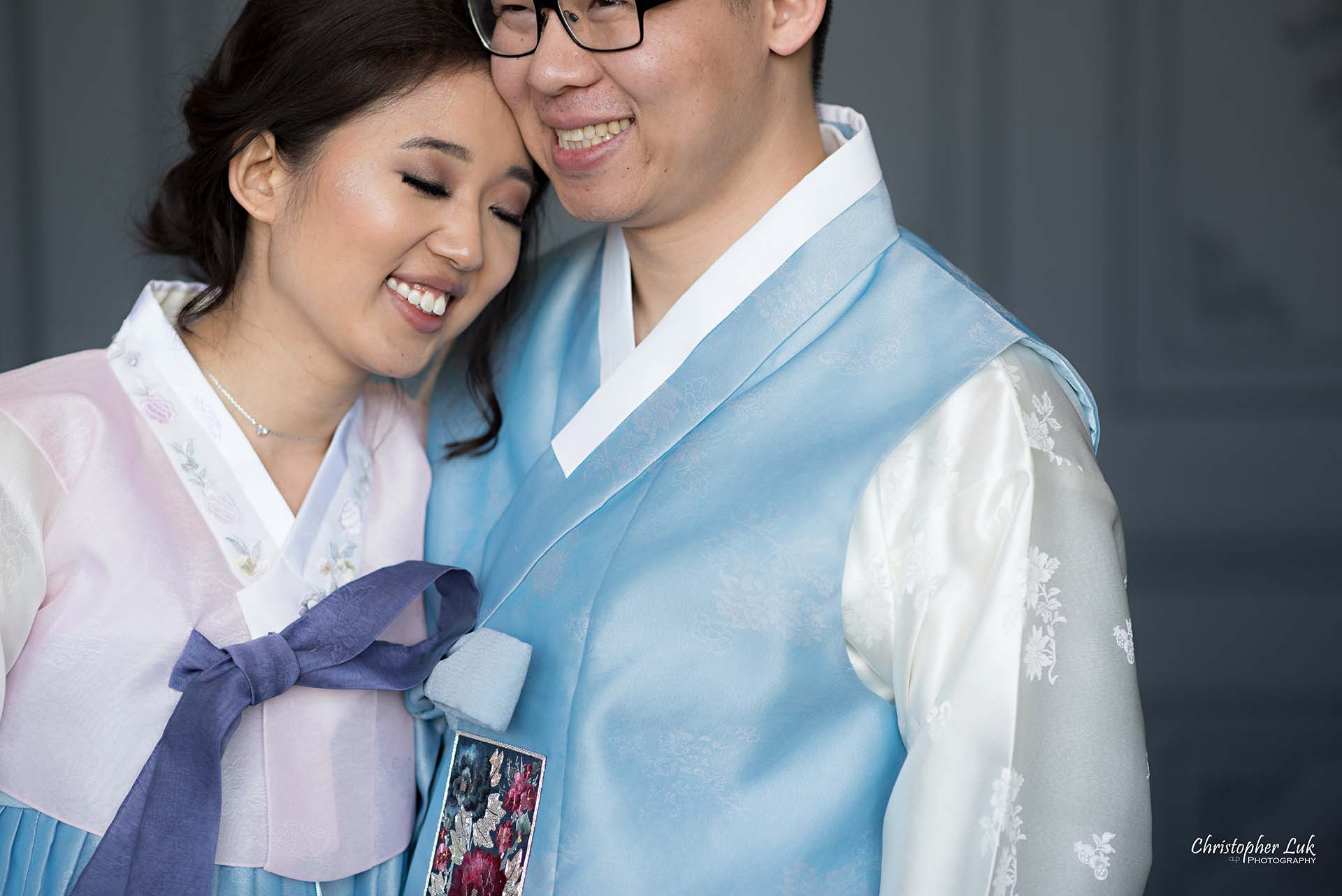 Christopher Luk Toronto Wedding Photographer - Mint Room Studios Bride Groom Natural Candid Photojournalistic Library Studio Korean Drama Hanbok Rest Head Close