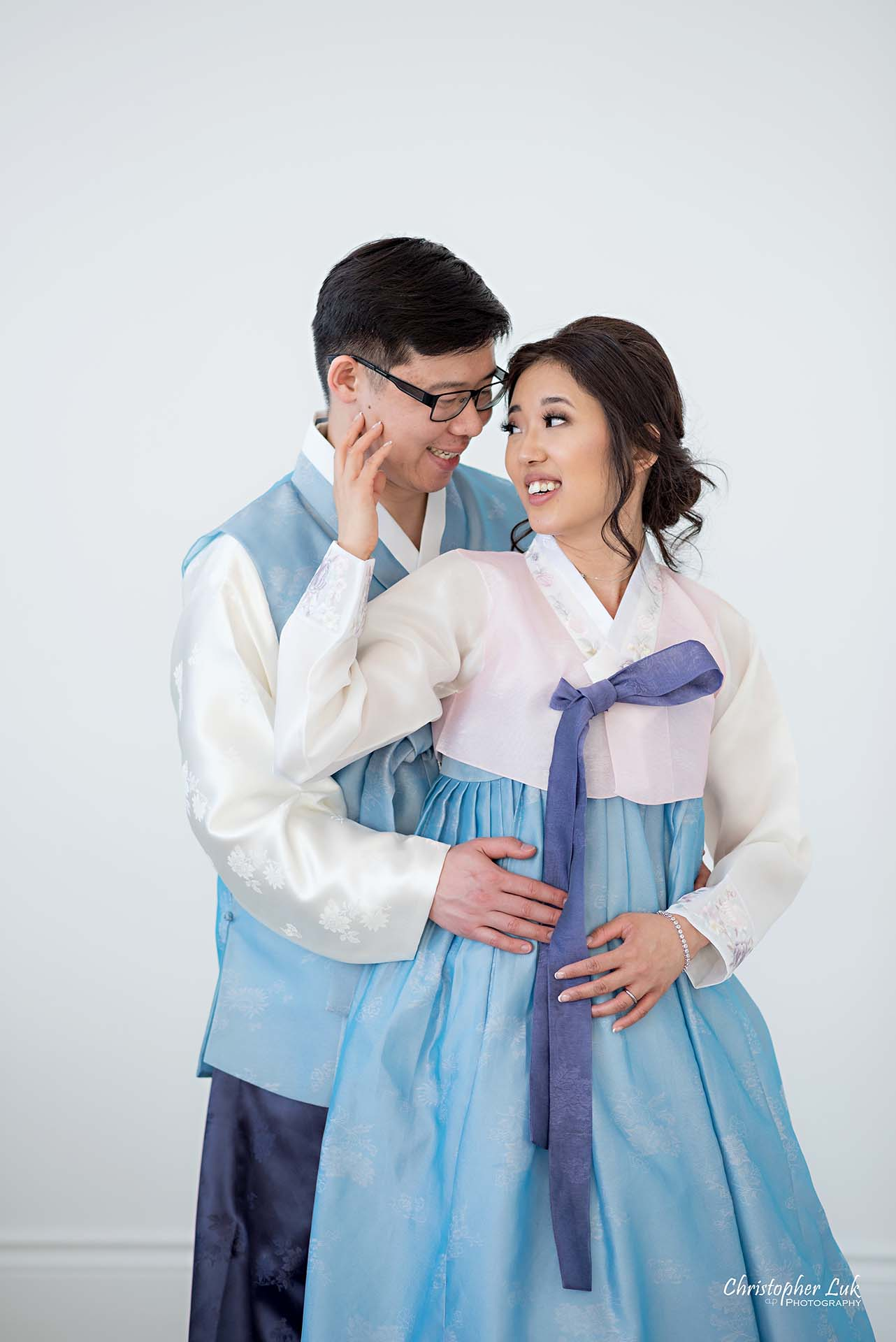 Christopher Luk Toronto Wedding Photographer - Mint Room Studios Bride Groom Natural Candid Photojournalistic Conservatory Ballroom Korean Drama Hanbok Hold Hug Each Other Smile Look Close
