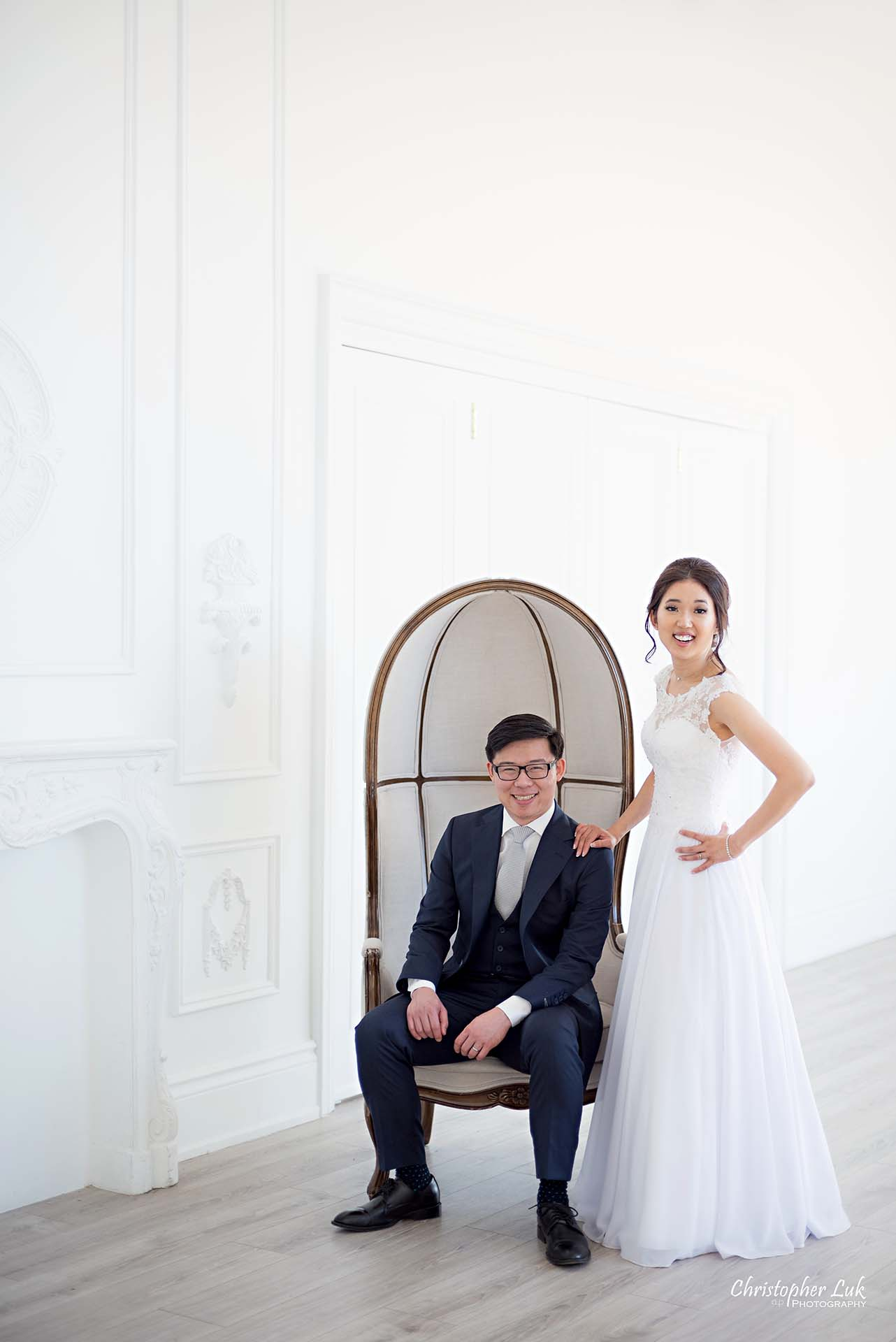 Christopher Luk Toronto Wedding Photographer - Mint Room Studios Bride Groom Natural Candid Photojournalistic Conservatory Ballroom Dome Chair Styled Portrait