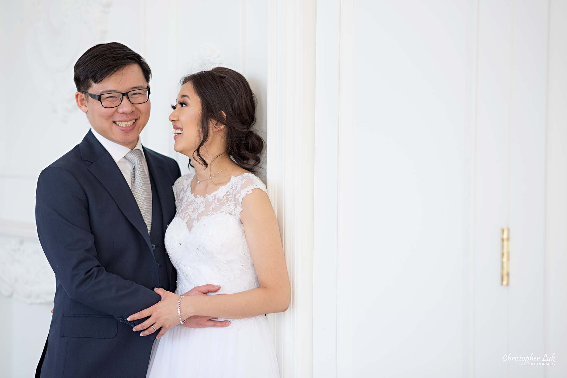 Christopher Luk Toronto Wedding Photographer - Mint Room Studios Bride Groom Natural Candid Photojournalistic Conservatory Ballroom Hug Laugh Close
