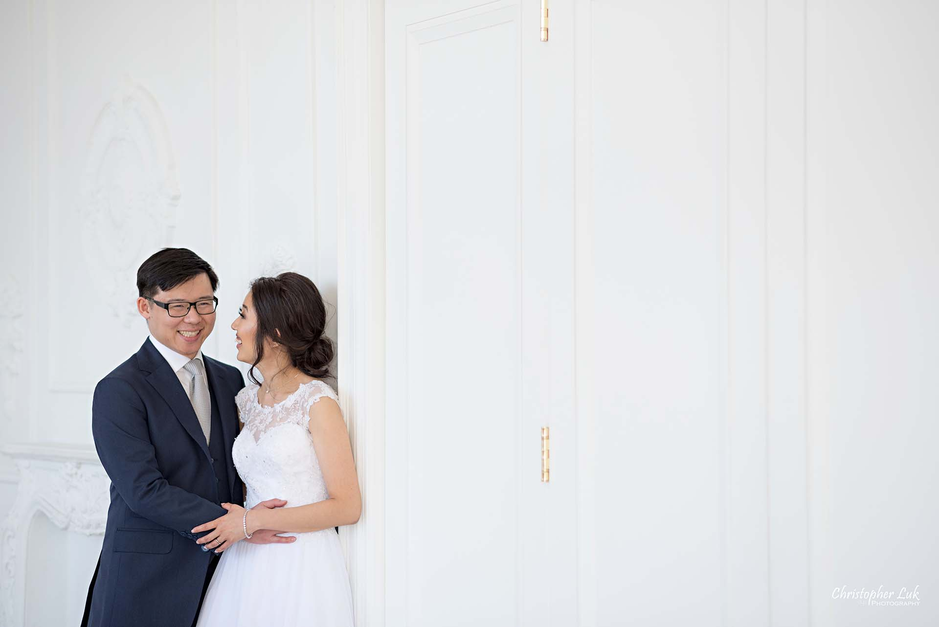 Christopher Luk Toronto Wedding Photographer - Mint Room Studios Bride Groom Natural Candid Photojournalistic Conservatory Ballroom Hug Laugh Wide