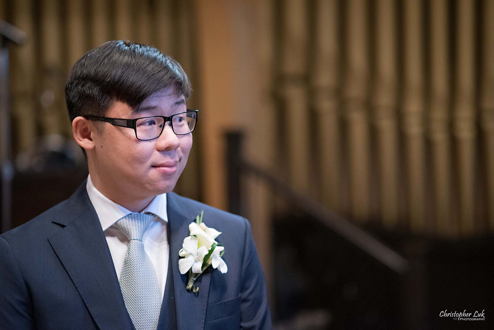 Christopher Luk Toronto Wedding Photographer - Natural Candid Photojournalistic Groom Immanuel Baptist Church Ceremony Reaction Smile Anticipation