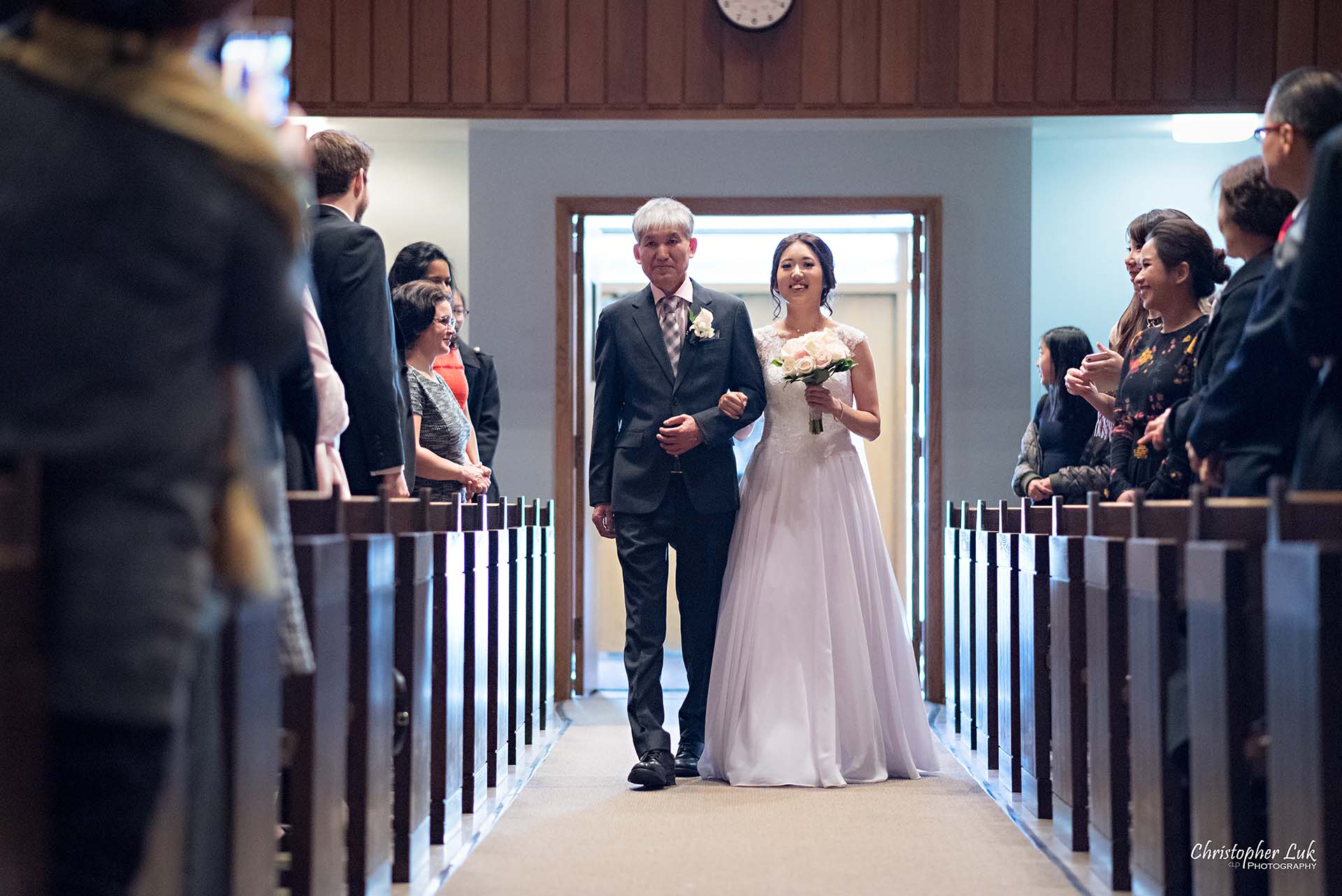 Christopher Luk Toronto Wedding Photographer - Natural Candid Photojournalistic Bride Father Immanuel Baptist Church Ceremony Processional Walking Down the Aisle