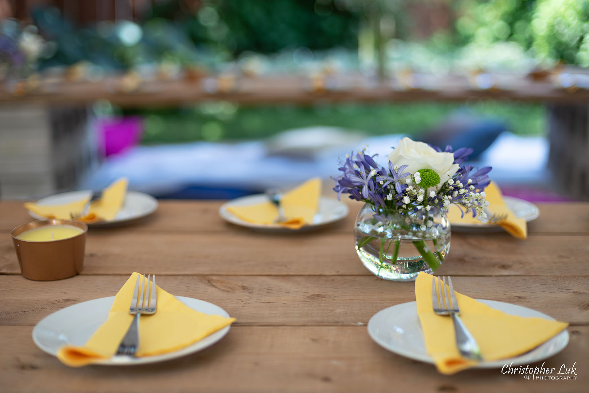 Christopher Luk Toronto Wedding Engagement Event Photographer Bohemian Boho Chic Backyard Tent Wedding Wood Table Planks Folded Napkins Plates Floral Centrepieces Detail
