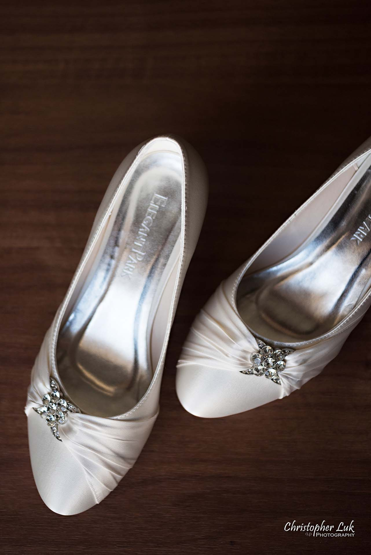 Christopher Luk Toronto Wedding Photographer Hotel Bride Getting Ready Details Crystal Beads Bridal Pumps Heels Shoes