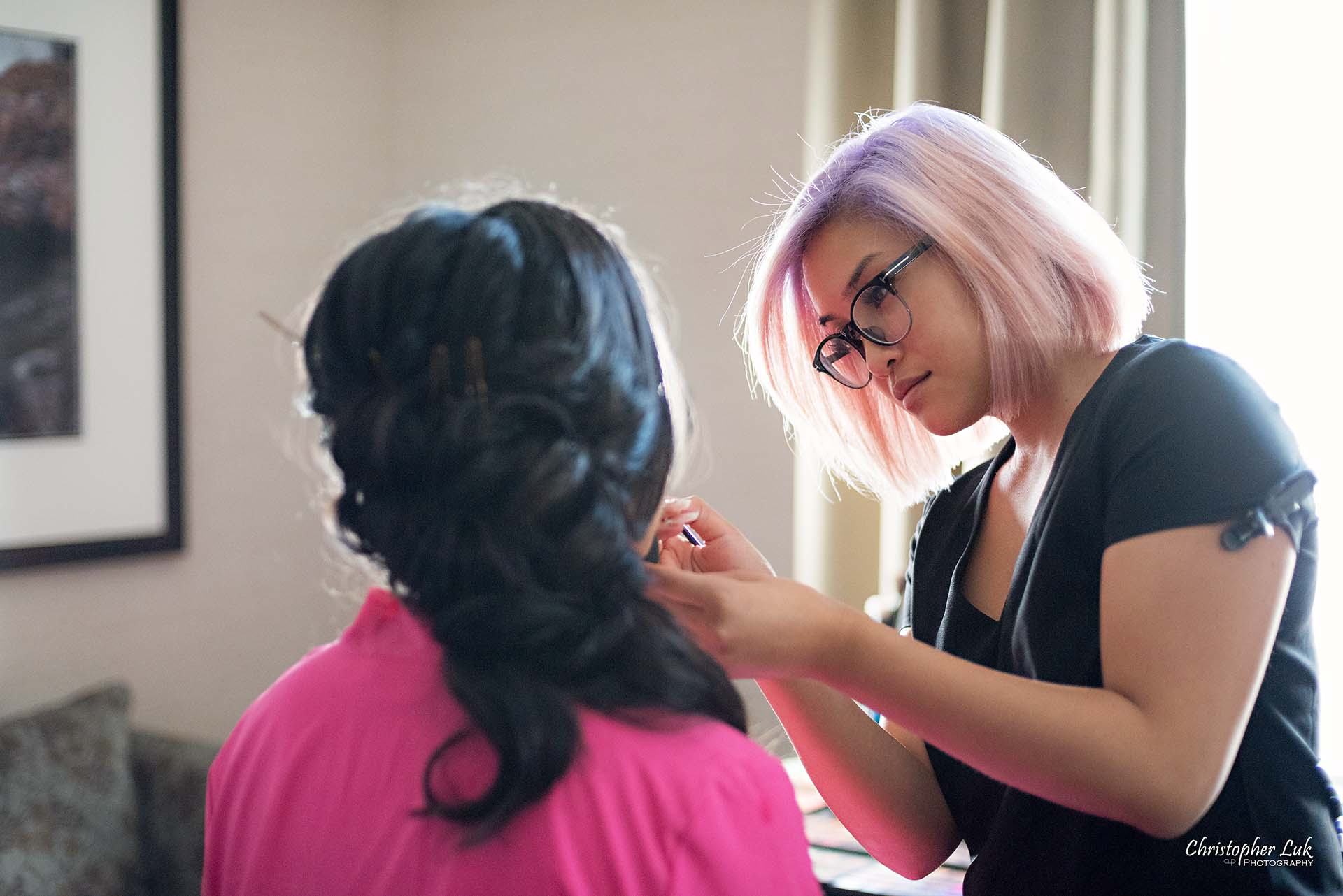 Christopher Luk Toronto Wedding Photographer Hotel Bride Getting Ready Details Judy Lim Mobile Bridal Hair Stylist Makeup Artist