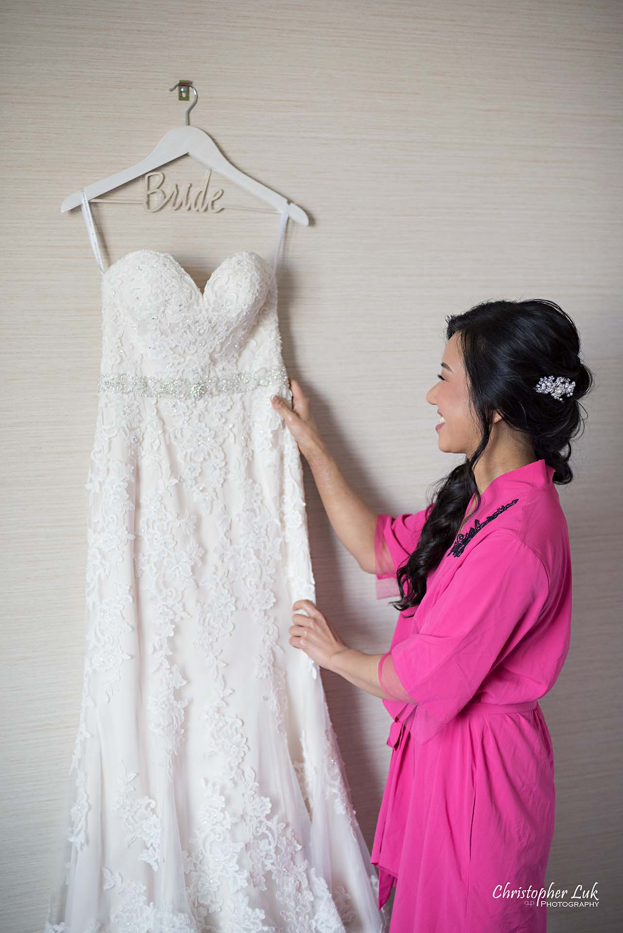 Christopher Luk Toronto Wedding Photographer Hotel Bride Getting Ready Details Bridal Gown Dress Hanger