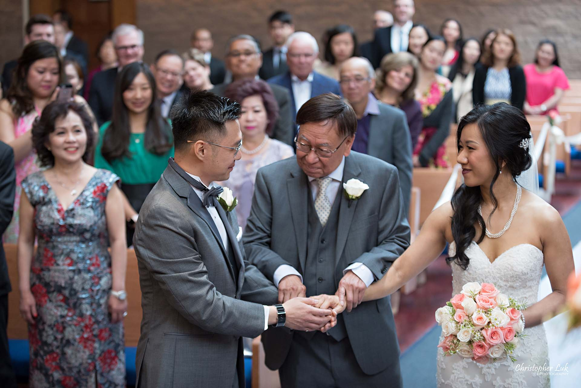 Christopher Luk Toronto Wedding Photographer Trinity York Mills Church Ceremony Sanctuary Candid Natural Photojournalistic Groom Bride Father Walking Down the Aisle Processional Hand Off Who Gives This Woman to this Man