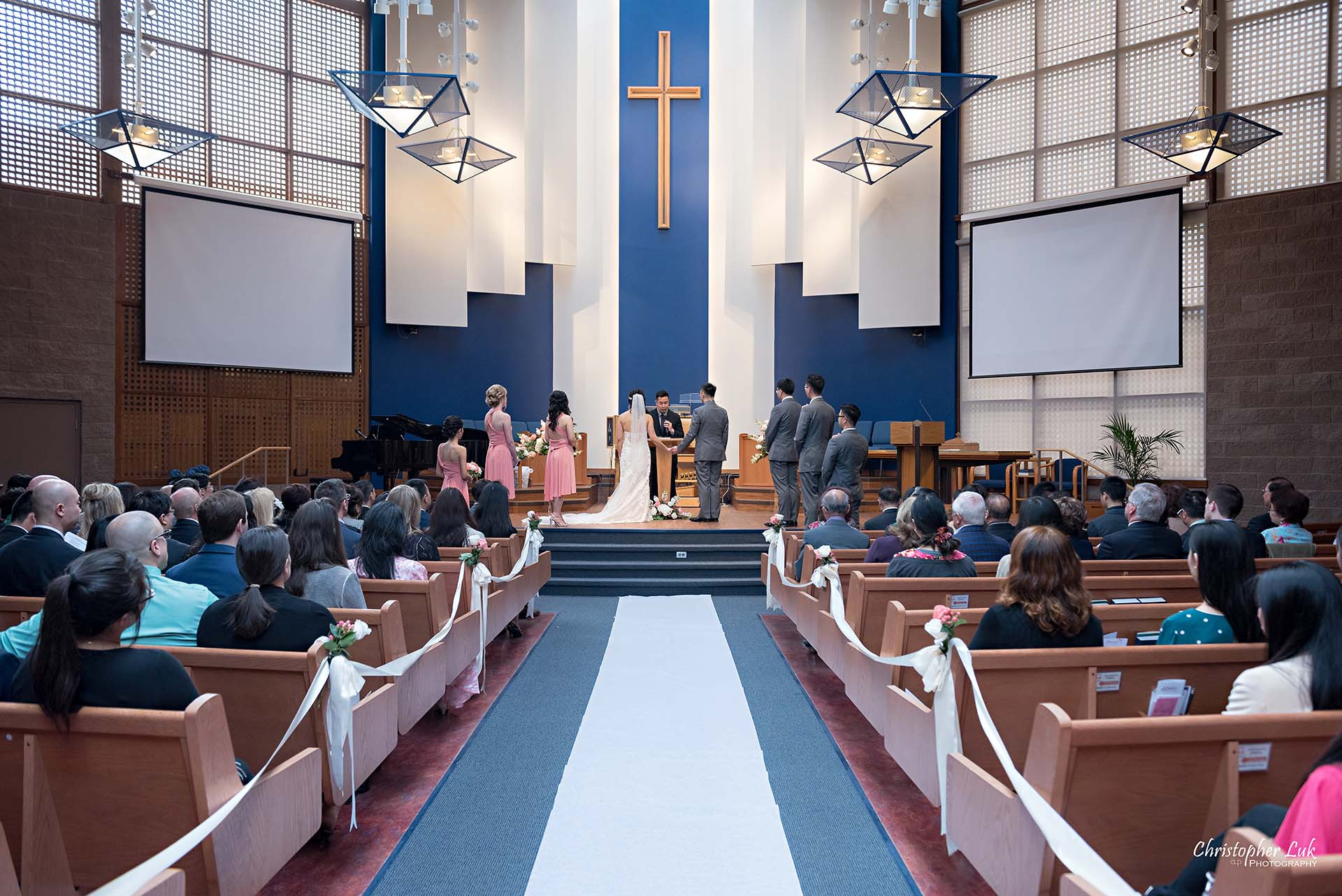 Christopher Luk Toronto Wedding Photographer Trinity York Mills Church Ceremony Sanctuary Candid Natural Photojournalistic Groom Bride Landscape Wide Centre Aisle Runner