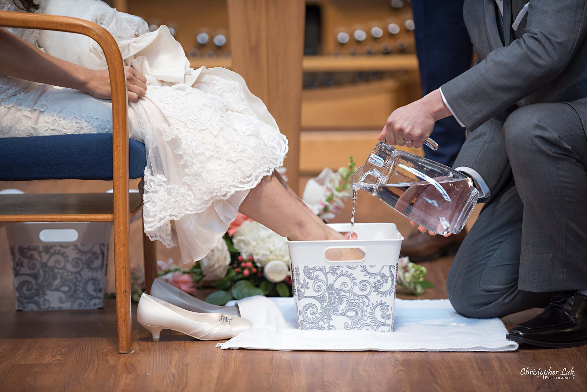 Christopher Luk Toronto Wedding Photographer Trinity York Mills Church Ceremony Sanctuary Candid Natural Photojournalistic Bride Groom Christian Foot Washing Humility Water Pitcher Basin