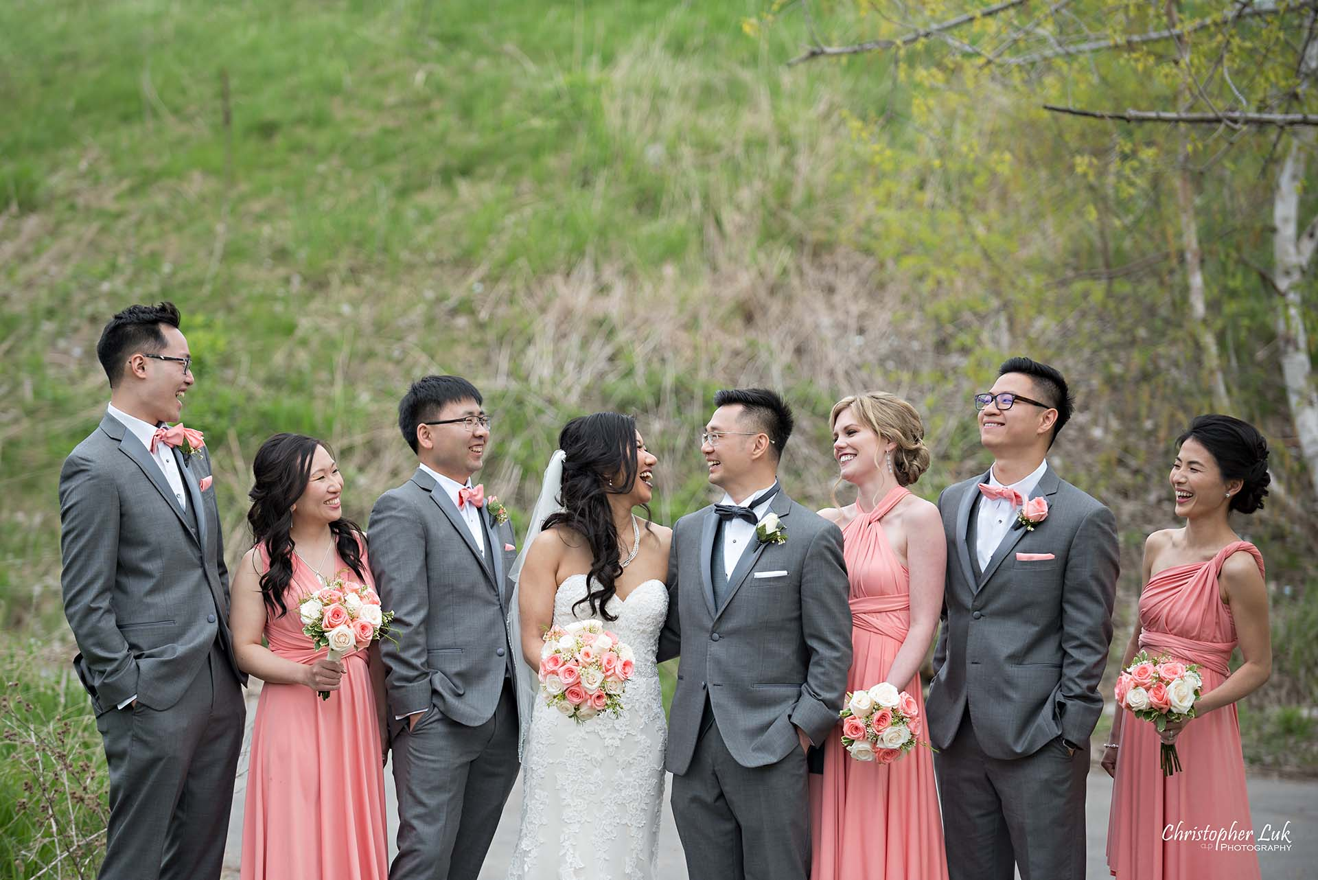 Christopher Luk Toronto Wedding Photographer Eagles Nest Golf Club Course Clubhouse Bride Groom Bridal Party Bridesmaids Groomsmen Candid Natural Photojournalistic Laughing Smile