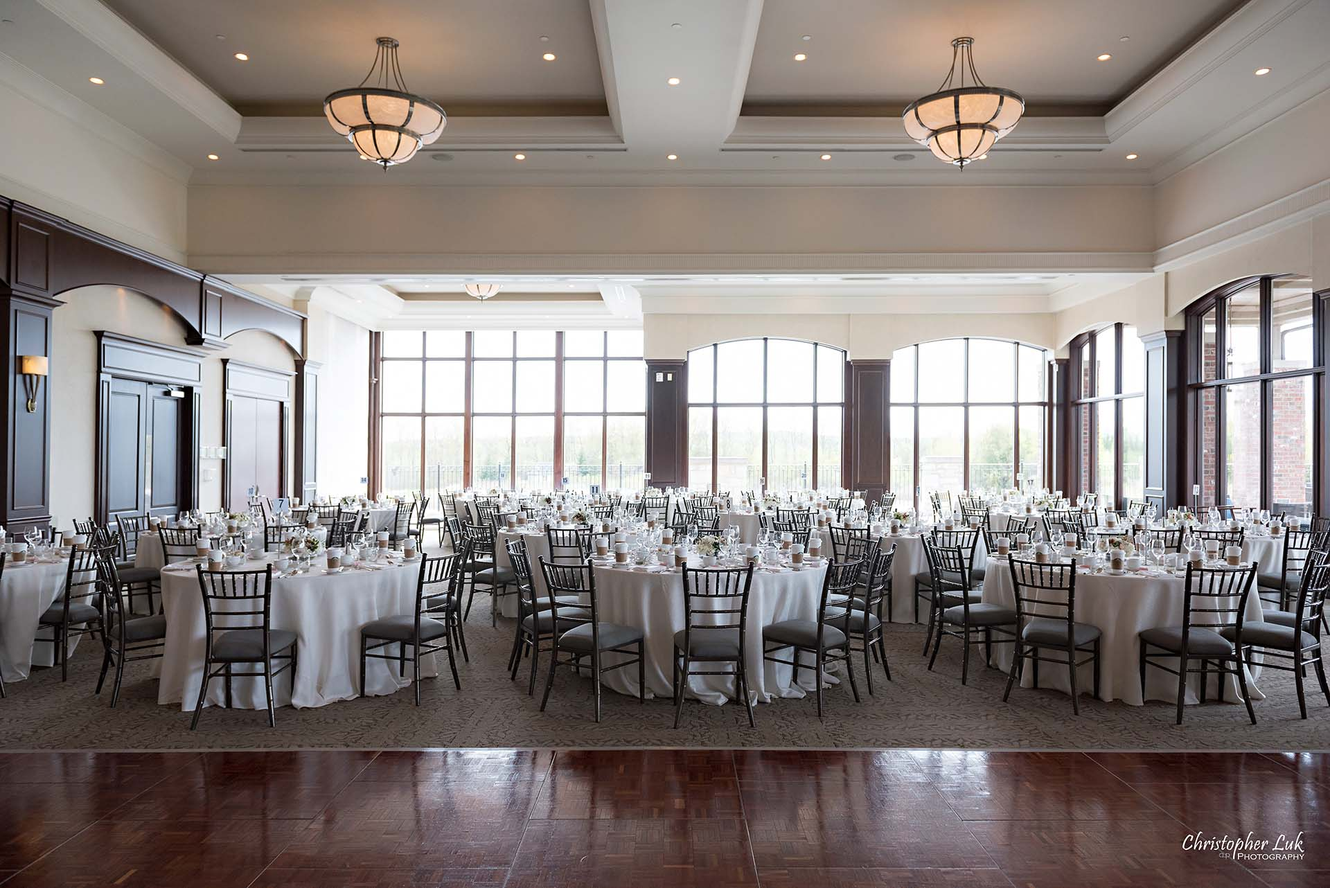 Christopher Luk Toronto Wedding Photographer Eagles Nest Golf Club Course Clubhouse Great Hall Dinner Reception Table Details Dance Floor Wide Angle