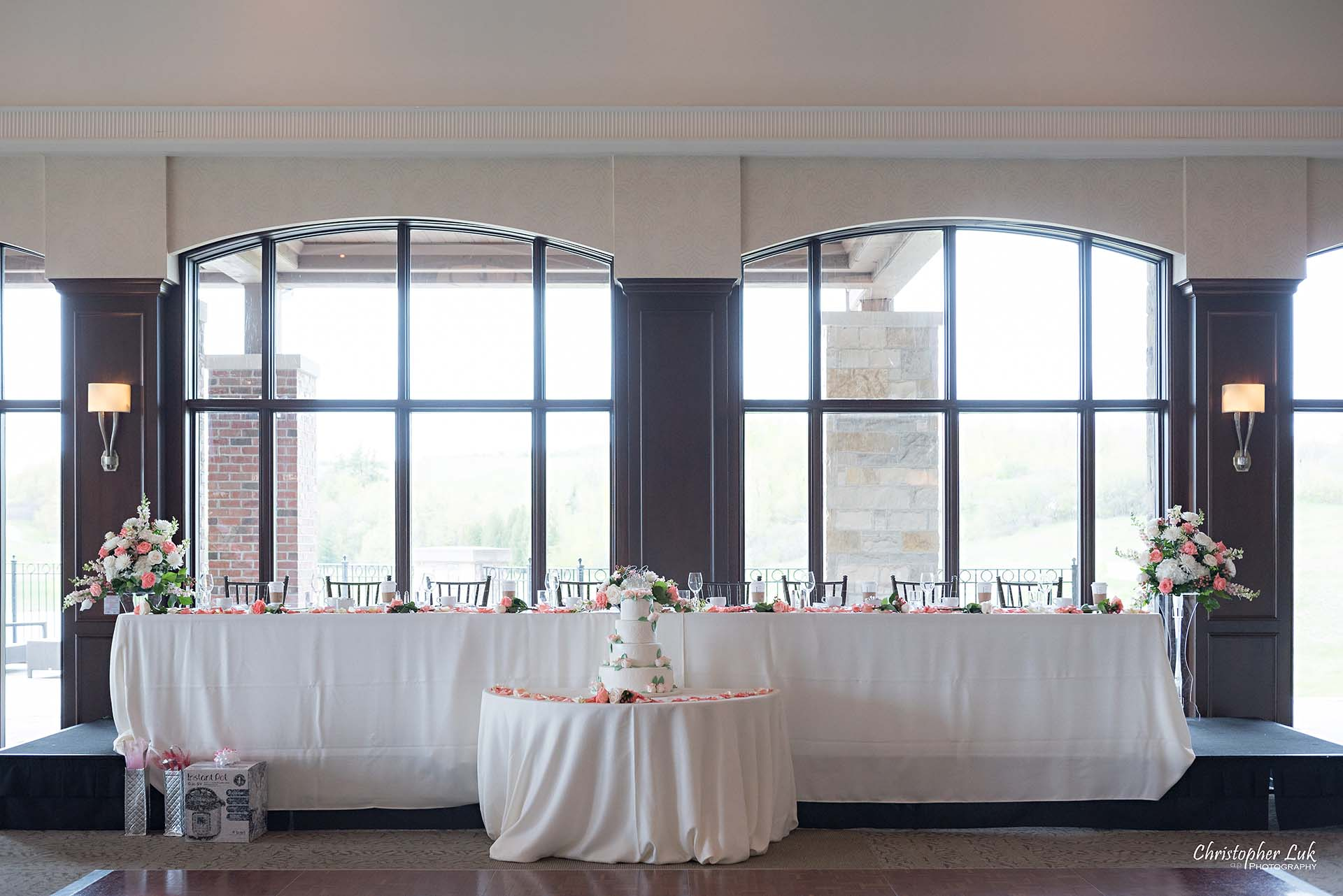 Christopher Luk Toronto Wedding Photographer Eagles Nest Golf Club Course Clubhouse Great Hall Dinner Reception Head Table Details Wide Angle