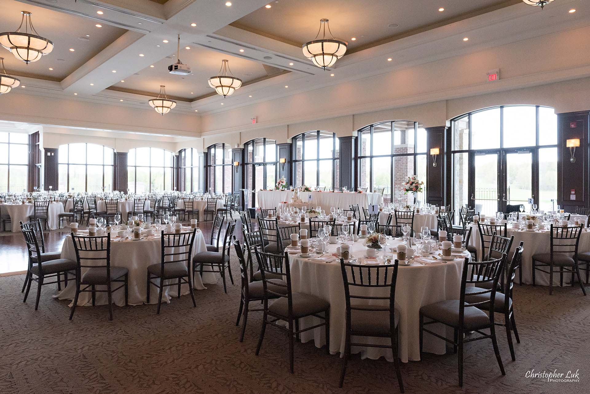 Christopher Luk Toronto Wedding Photographer Eagles Nest Golf Club Course Clubhouse Great Hall Dinner Reception Table Details Wide Angle