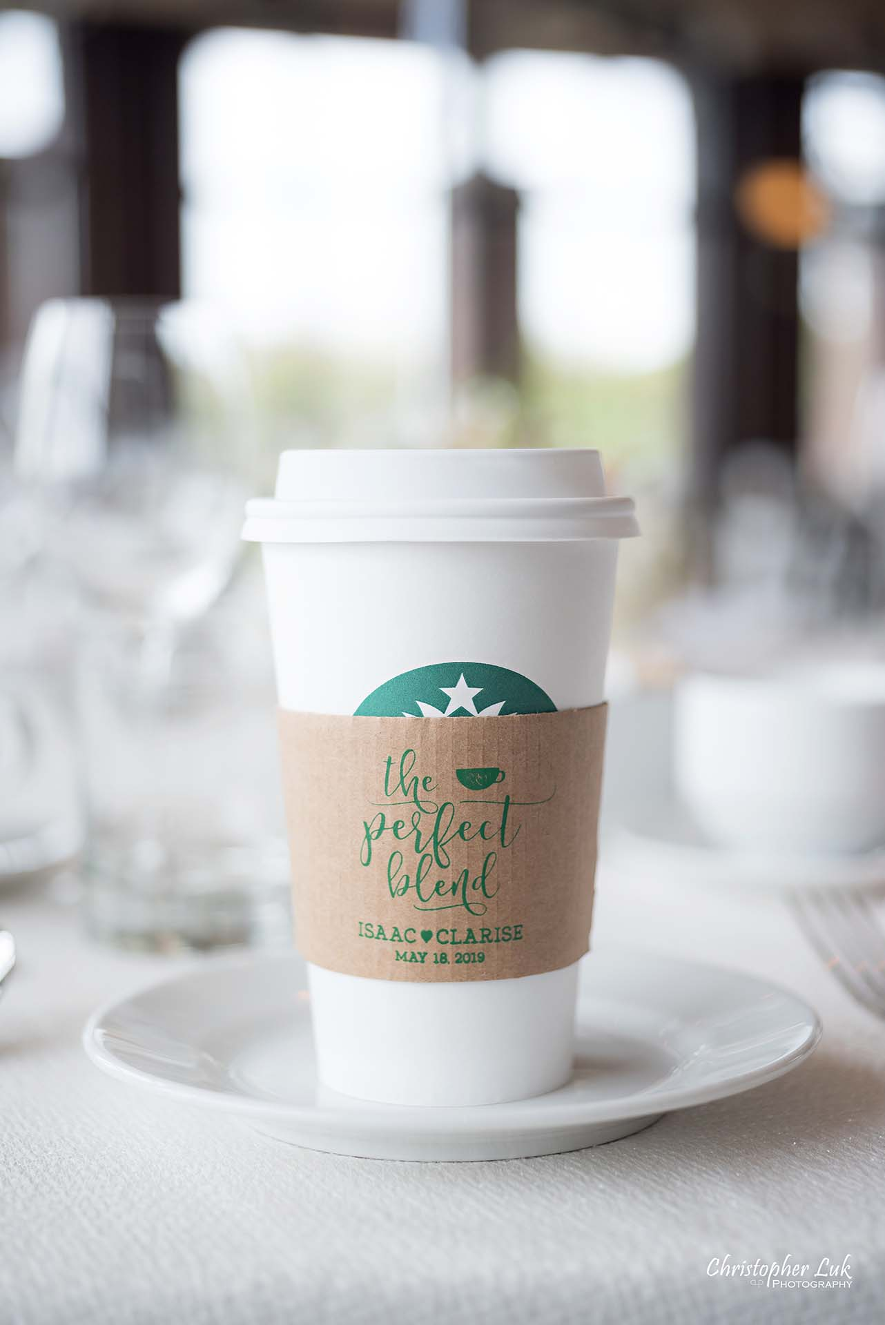 Christopher Luk Toronto Wedding Photographer Eagles Nest Golf Club Course Clubhouse Great Hall Dinner Reception Head Cake Table Details Starbucks Coffee Cup Cardboard Sleeve Protector Java Jacket Custom The Perfect Blend