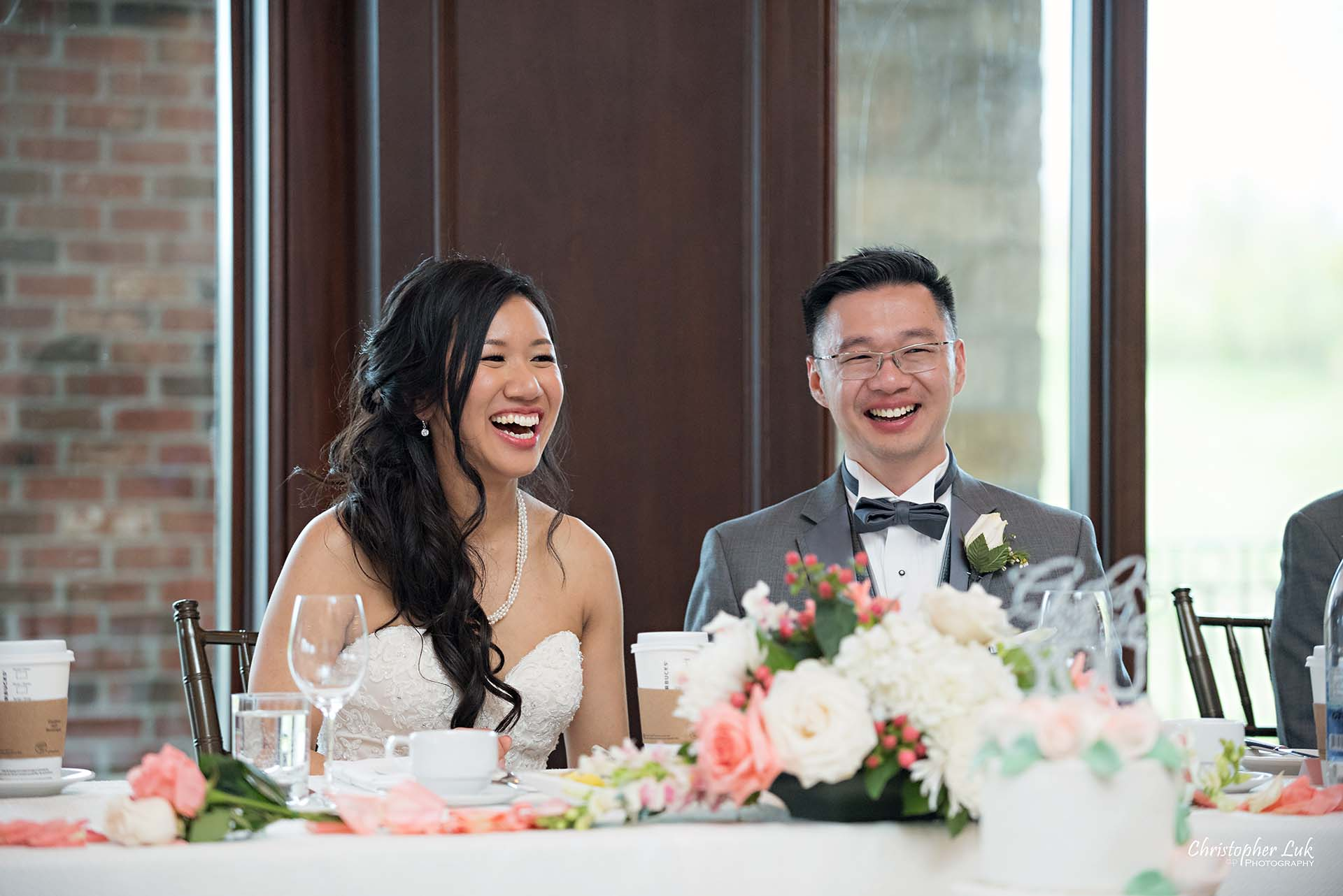 Christopher Luk Toronto Wedding Photographer Eagles Nest Golf Club Course Clubhouse Bride Groom Natural Candid Photojournalistic Great Hall Dinner Reception Speeches Reaction Laugh