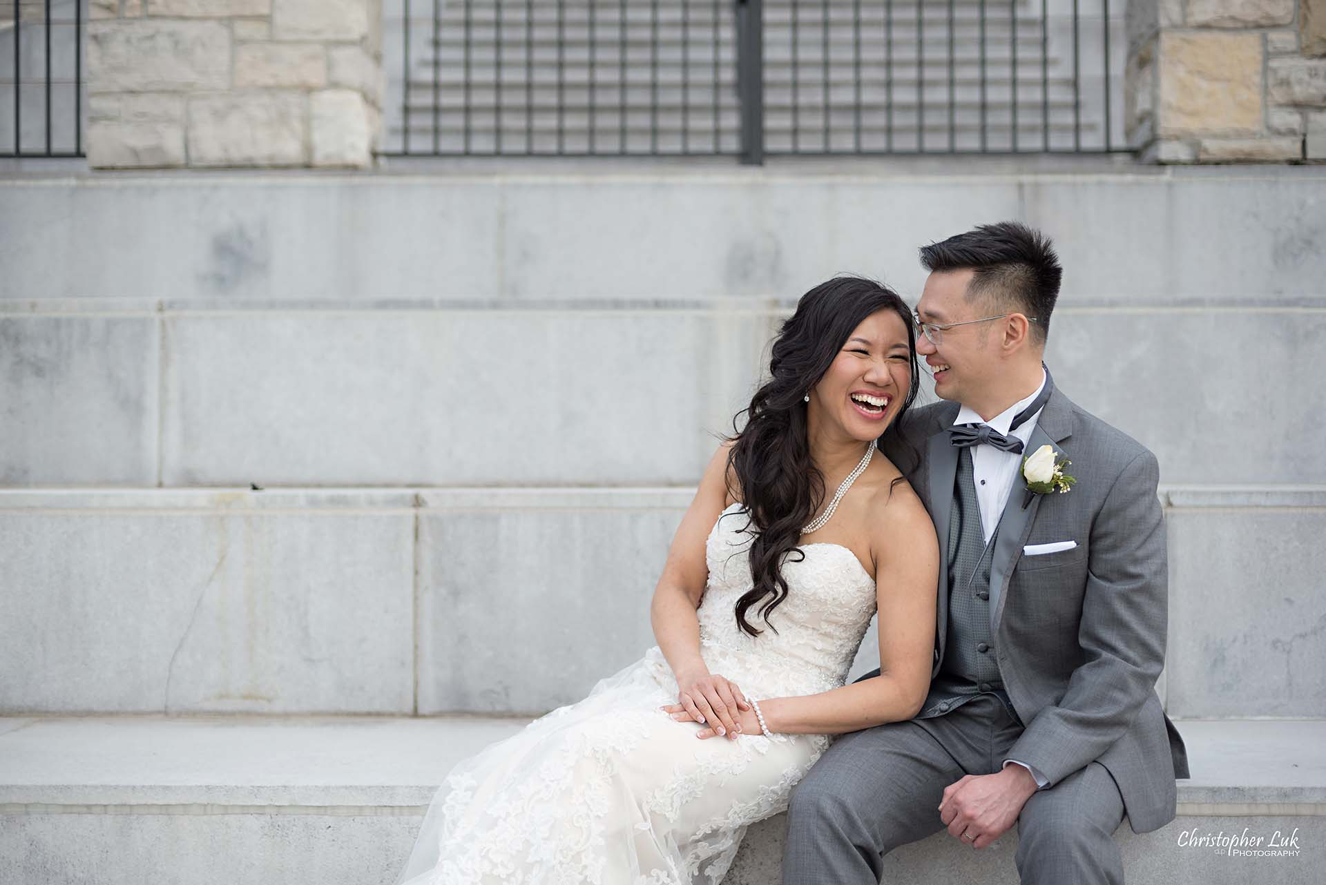 Christopher Luk Toronto Wedding Photographer Eagles Nest Golf Club Course Clubhouse Staircase Entrance Bride Groom Natural Candid Photojournalistic Sitting Laughing Smile