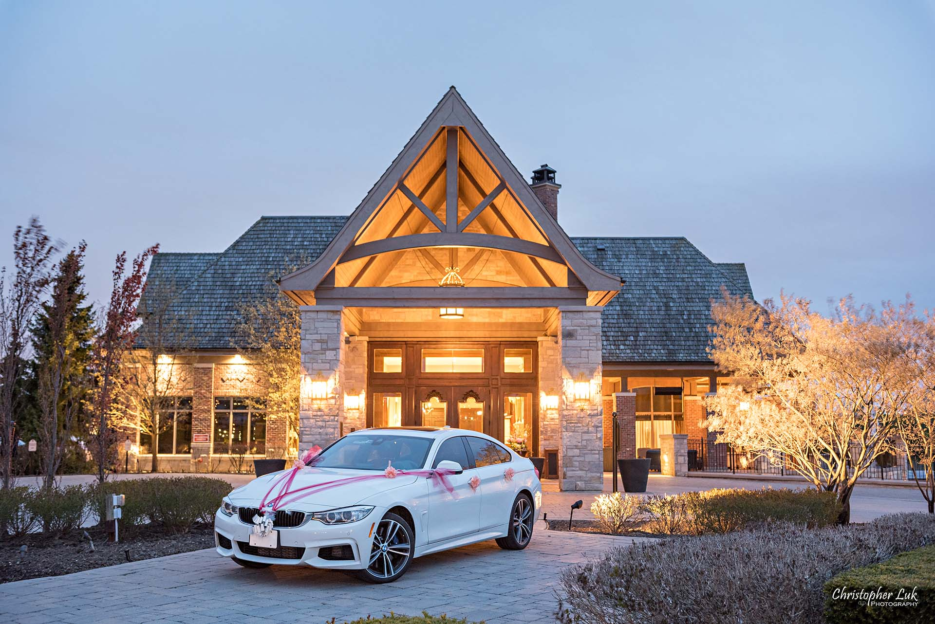 Christopher Luk Toronto Wedding Photographer Eagles Nest Golf Club Course Clubhouse Night Time Nighttime Sunset Long Exposure Driveway Main Entrance Steeple Landscape Decorated Ribbons Car BMW 435i GT Gran Grand Coupe Medium
