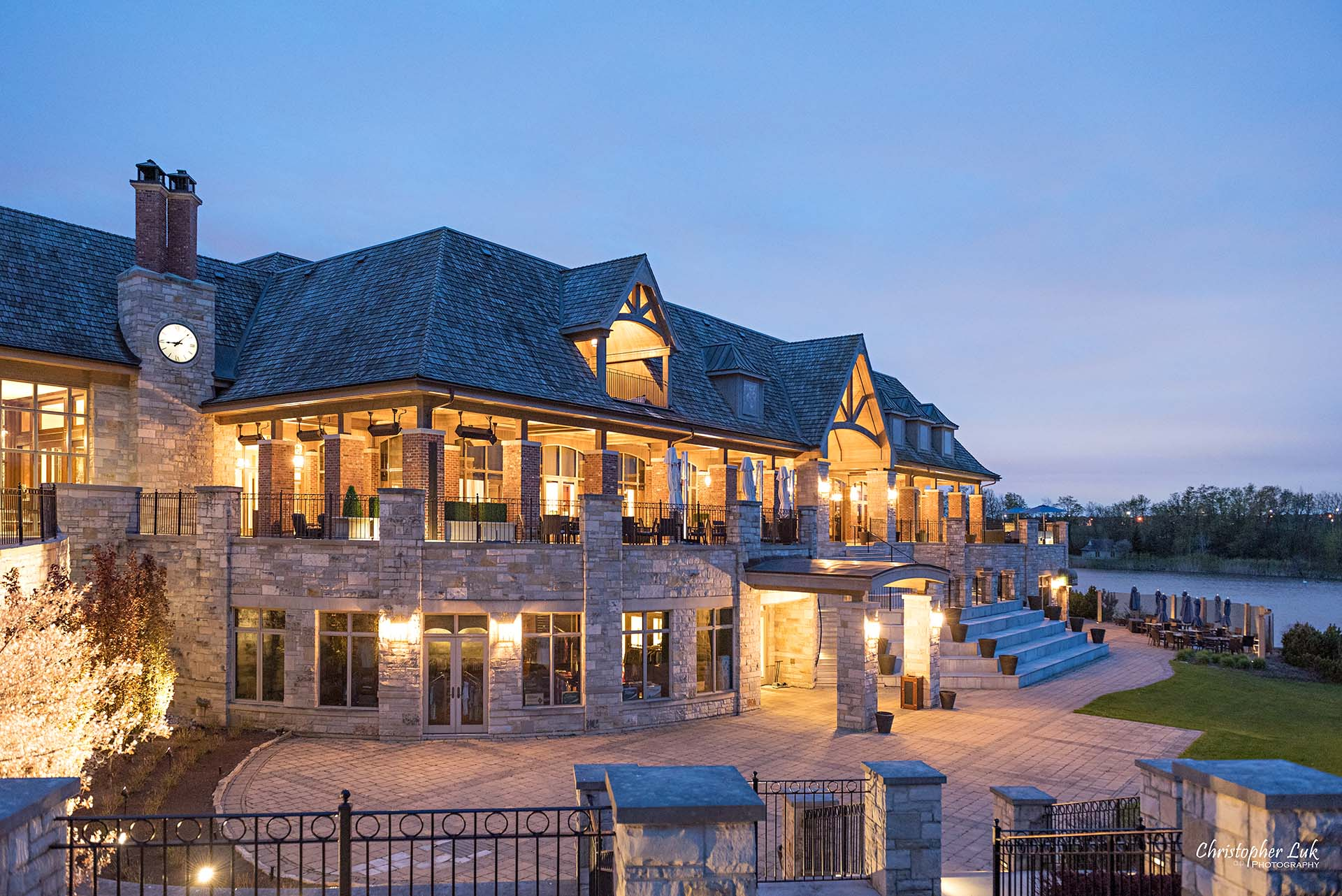 Christopher Luk Toronto Wedding Photographer Eagles Nest Golf Club Course Clubhouse Night Time Nighttime Sunset Long Exposure Wide Landscape
