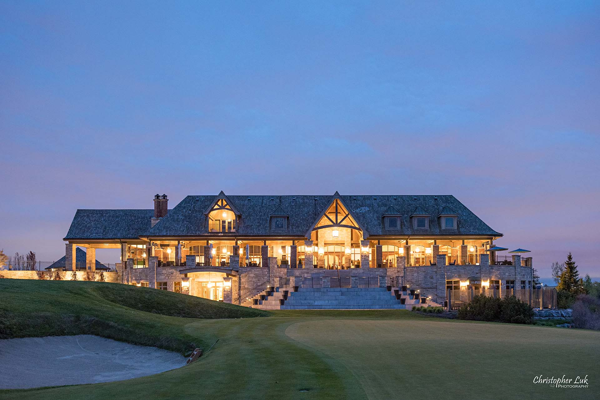 Christopher Luk Toronto Wedding Photographer Eagles Nest Golf Club Course Clubhouse Night Time Nighttime Sunset Long Exposure Green Sand Trap Pit Medium Landscape
