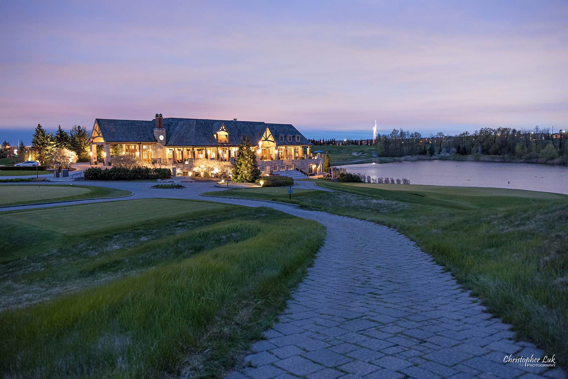 Christopher Luk Toronto Wedding Photographer Eagles Nest Golf Club Course Clubhouse Night Time Nighttime Sunset Long Exposure Pathway Wide Landscape