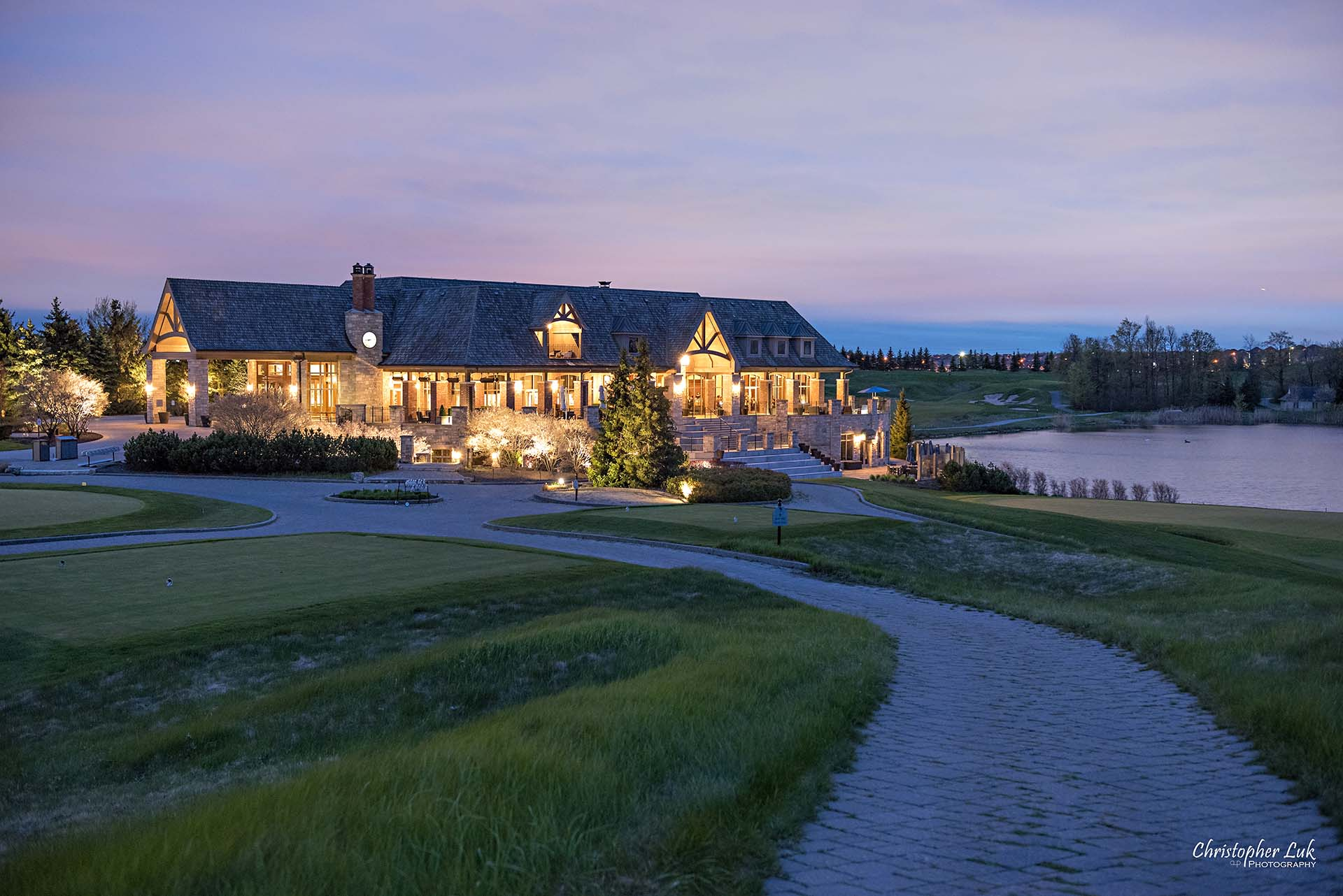 Christopher Luk Toronto Wedding Photographer Eagles Nest Golf Club Course Clubhouse Night Time Nighttime Sunset Long Exposure Pathway Medium Landscape
