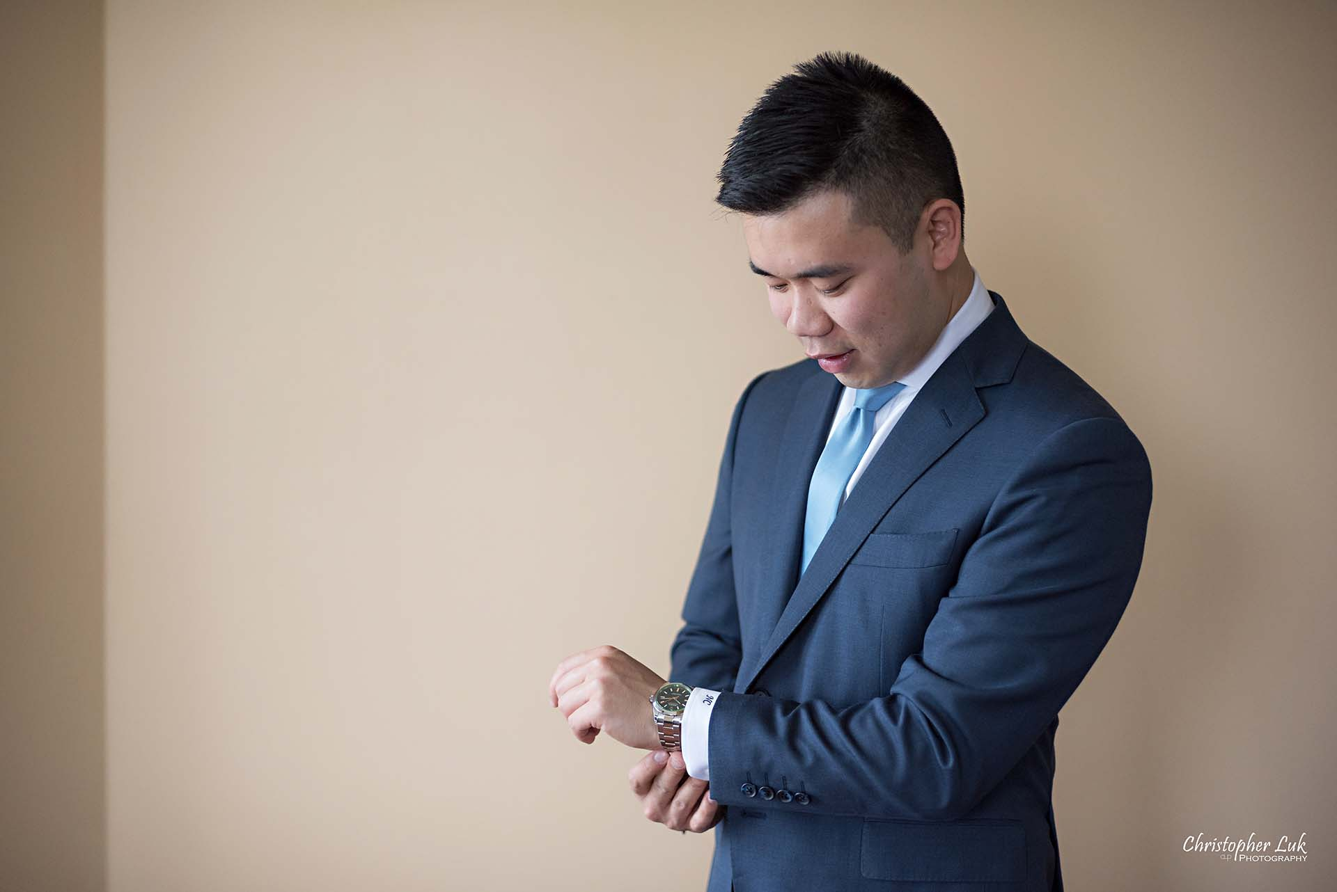 Christopher Luk Toronto Wedding Photographer Groom Getting Ready Preparations Natural Candid Photojournalistic Wingmen Suits Custom Made to Measure Navy Blue Suit Rolex Watch