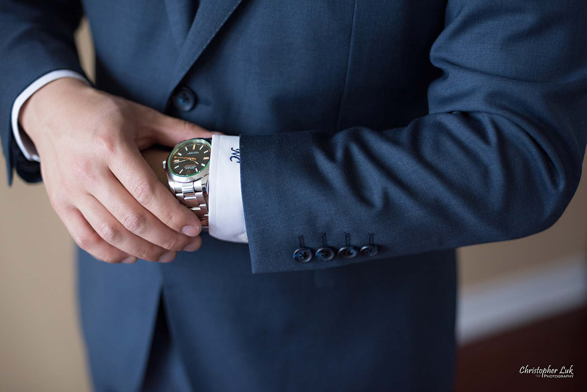 Christopher Luk Toronto Wedding Photographer Groom Getting Ready Preparations Natural Candid Photojournalistic Wingmen Suits Custom Made to Measure Navy Blue Suit Rolex Watch Detail Close
