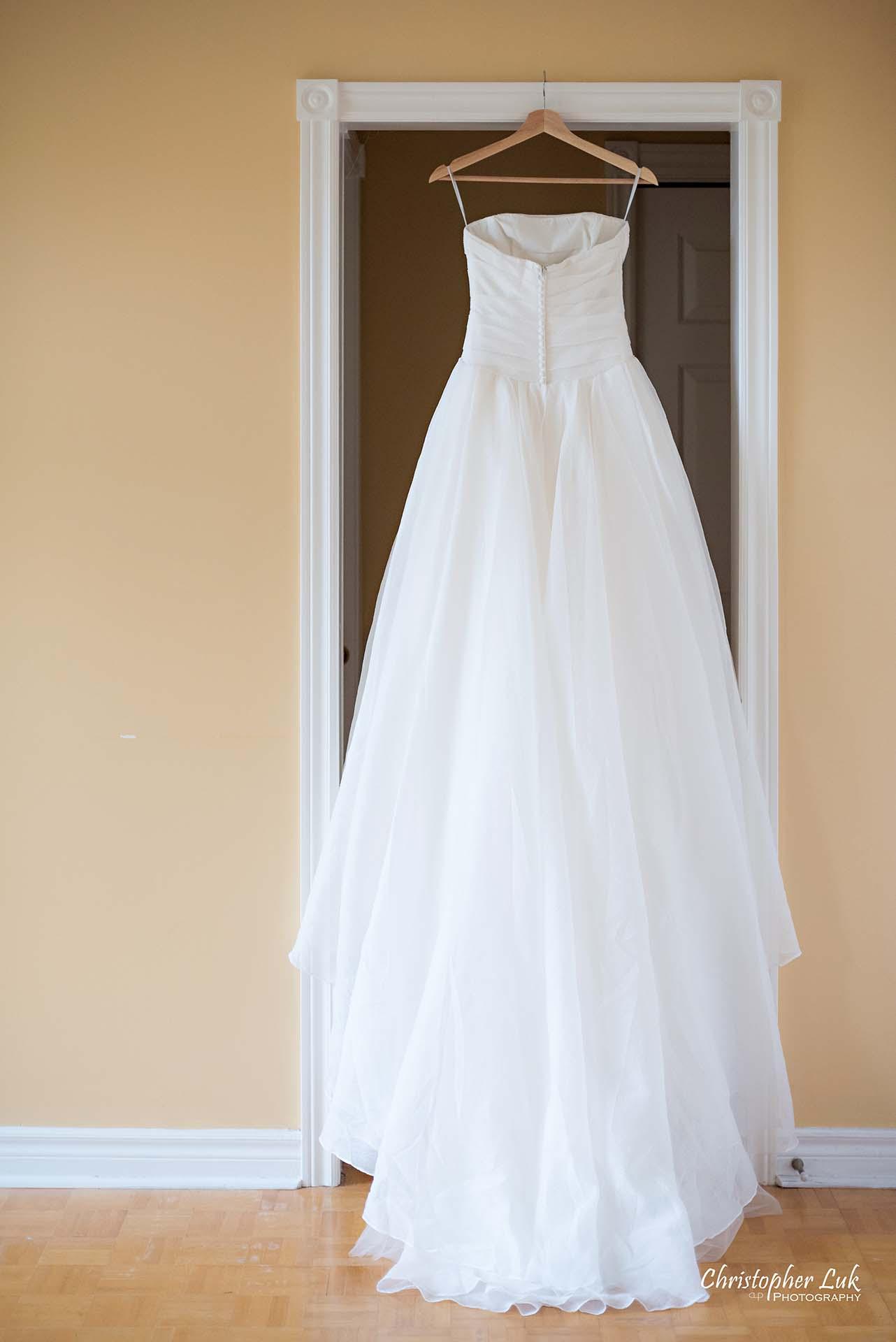Christopher Luk Toronto Wedding Photographer Bride Getting Ready Preparations Bridal White Gown Dress Hanging Back Train