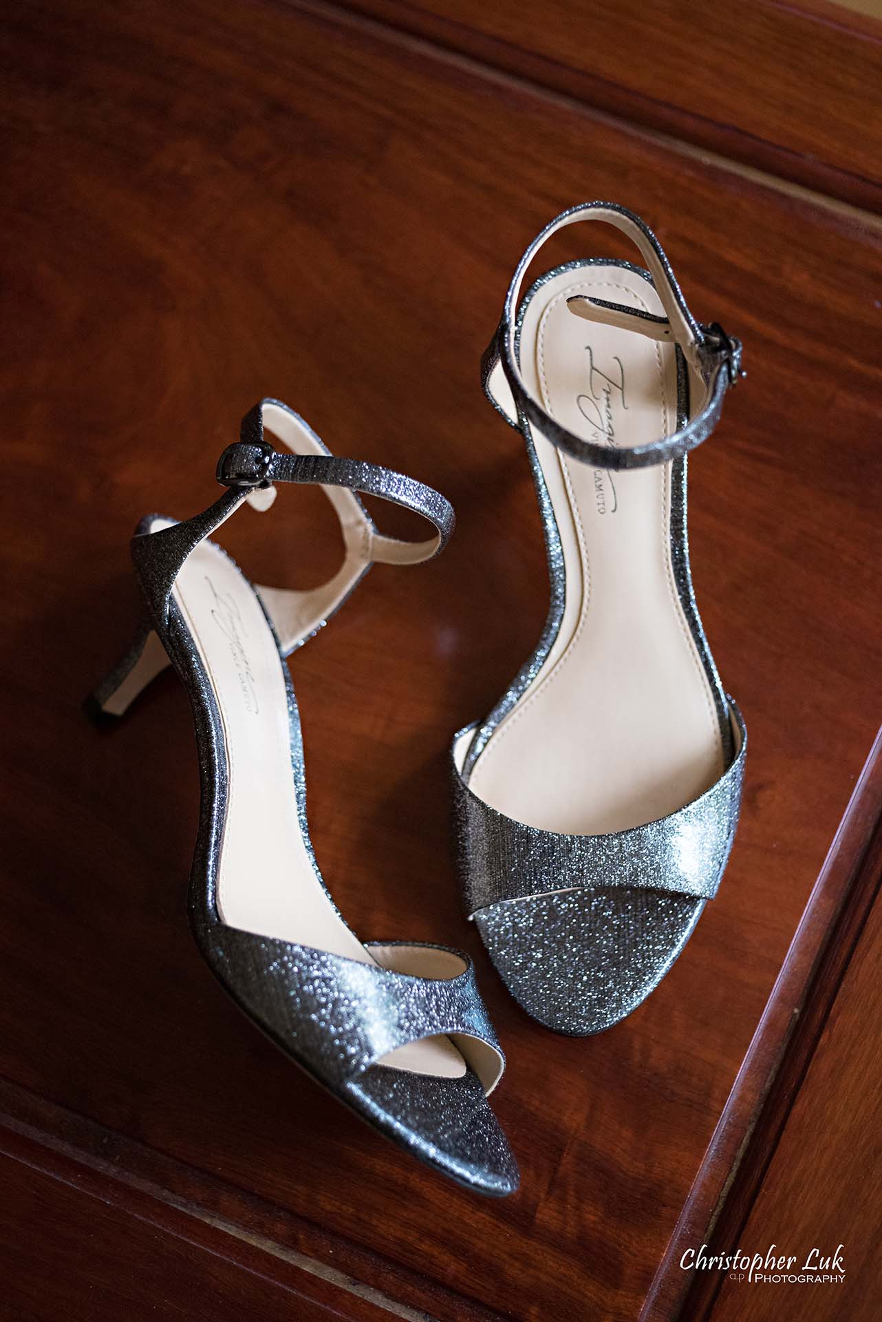 Christopher Luk Toronto Wedding Photographer Bride Getting Ready Preparations Bridal Silver Shoes Pumps Straps Sandals High Heels