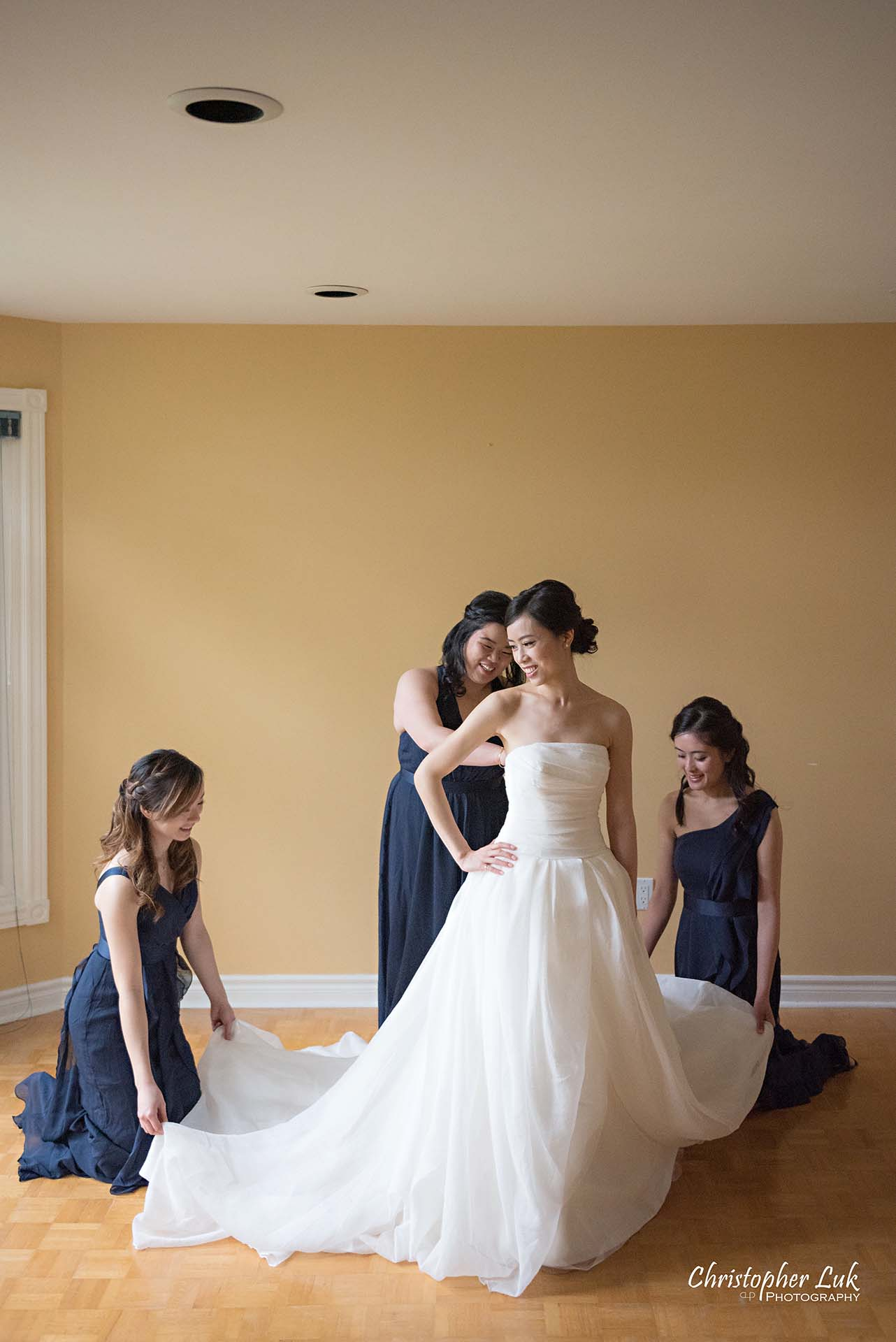 Christopher Luk Toronto Wedding Photographer Bride Getting Ready Preparations Bridal White Gown Dress Maid of Honour Bridesmaids Portrait