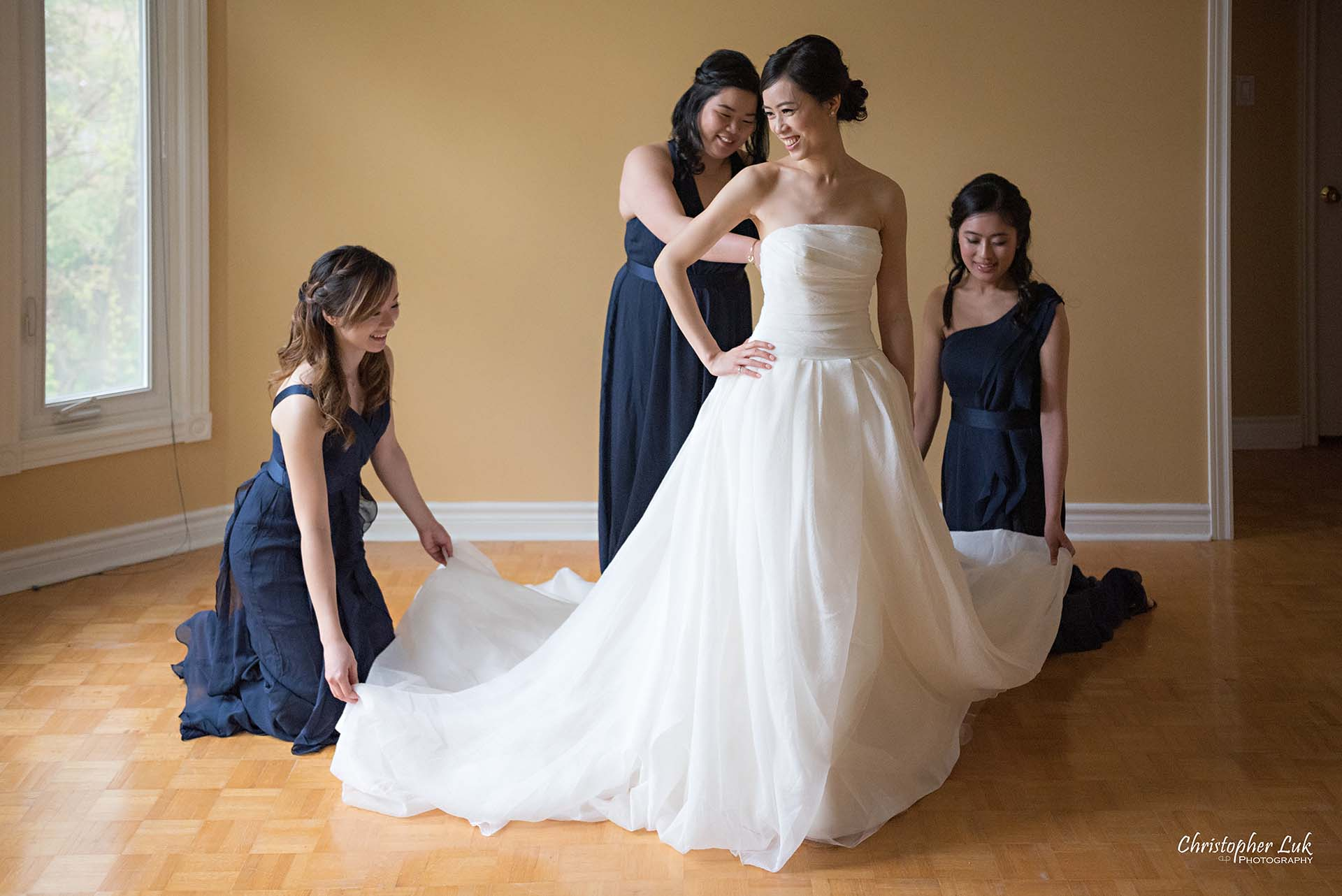 Christopher Luk Toronto Wedding Photographer Bride Getting Ready Preparations Bridal White Gown Dress Maid of Honour Bridesmaids Landscape