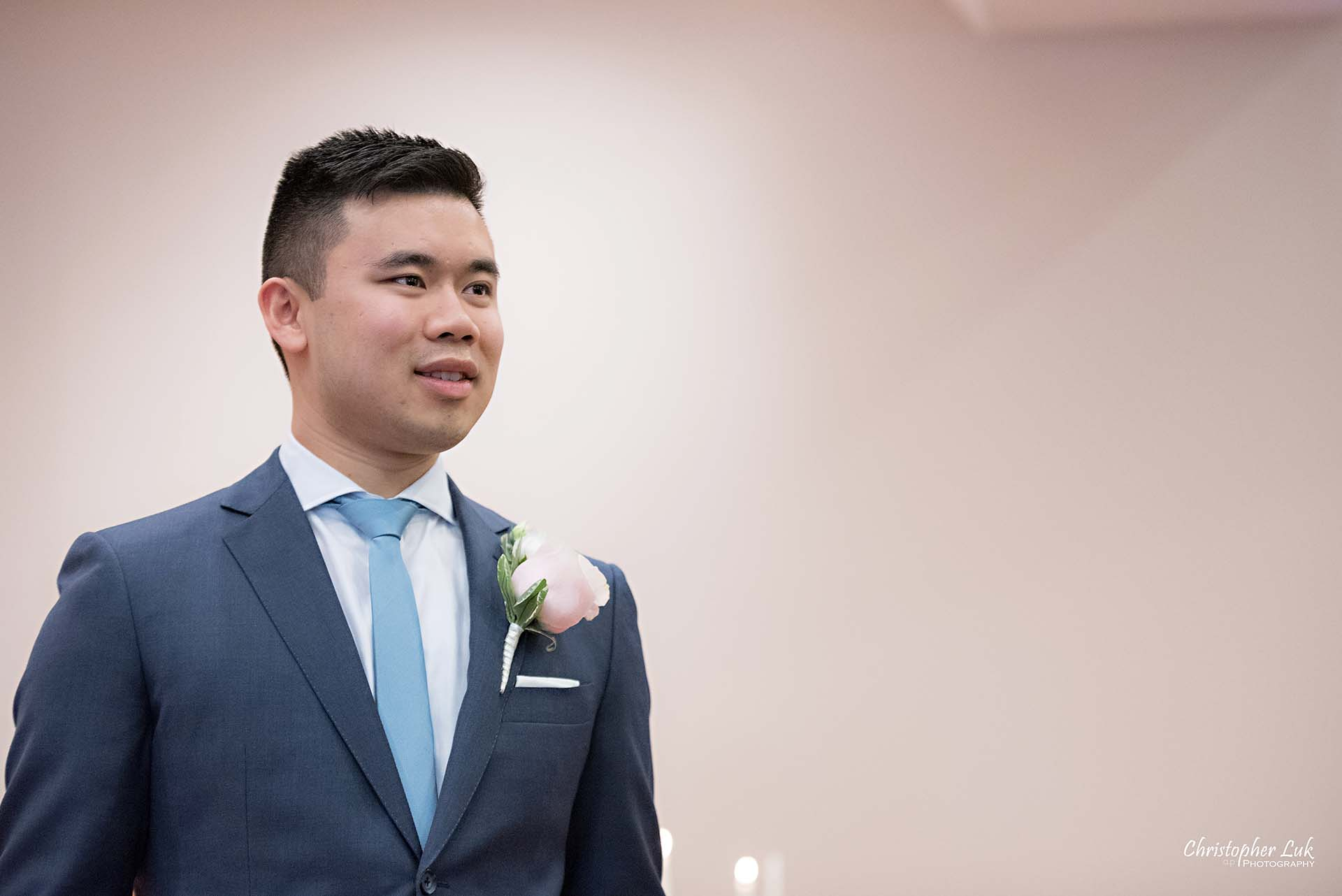 Christopher Luk Toronto Wedding Photographer Chinese Gospel Church Scarborough Ceremony Processional Groom Reaction