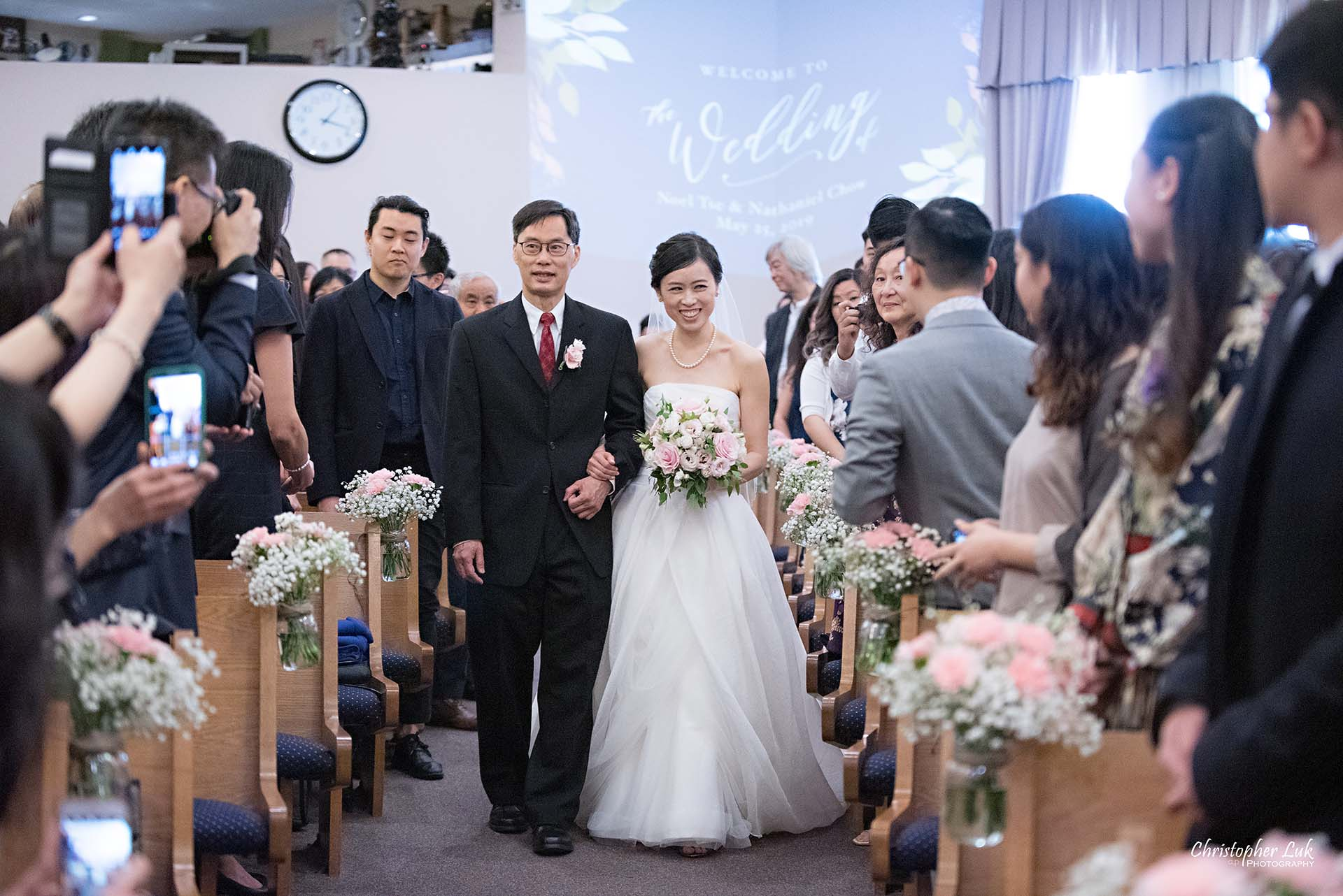 Christopher Luk Toronto Wedding Photographer Chinese Gospel Church Scarborough Ceremony Processional Bride Father Walking Down Aisle Together