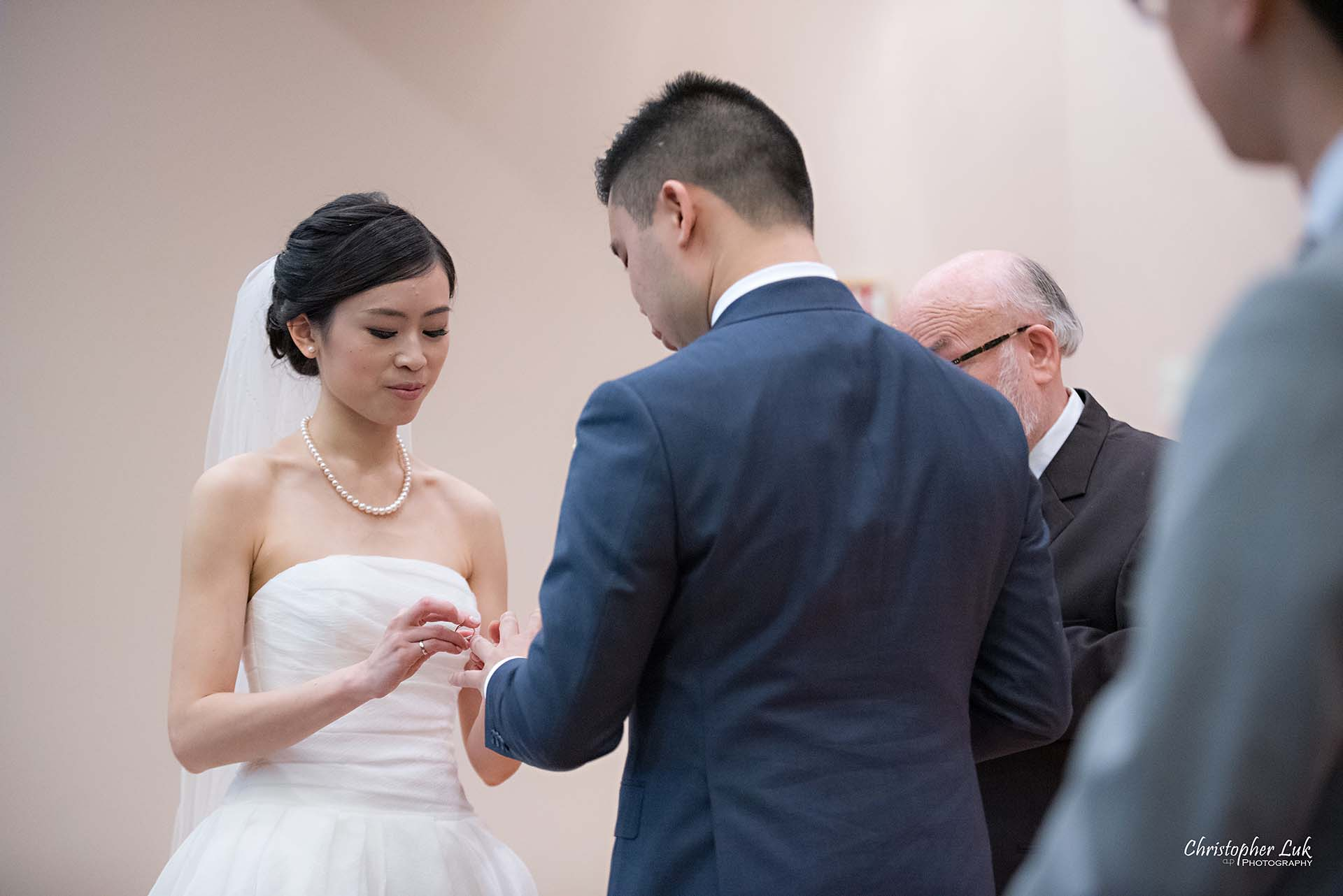 Christopher Luk Toronto Wedding Photographer Chinese Gospel Church Scarborough Ceremony Processional Bride Groom Exchange Rings Bands Vows