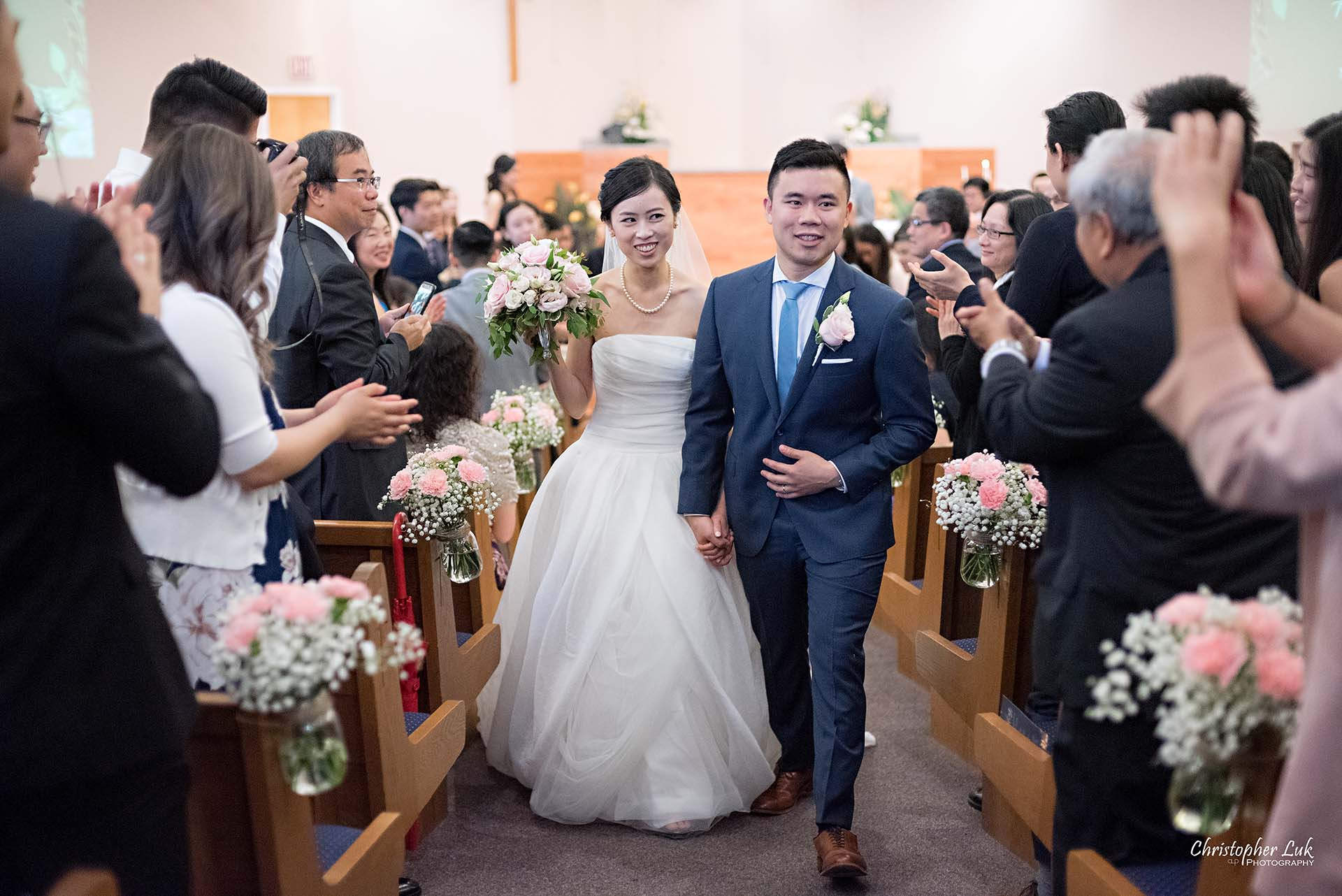 Christopher Luk Toronto Wedding Photographer Chinese Gospel Church Scarborough Ceremony Recessional Bride Groom Walking Aisle Out Together