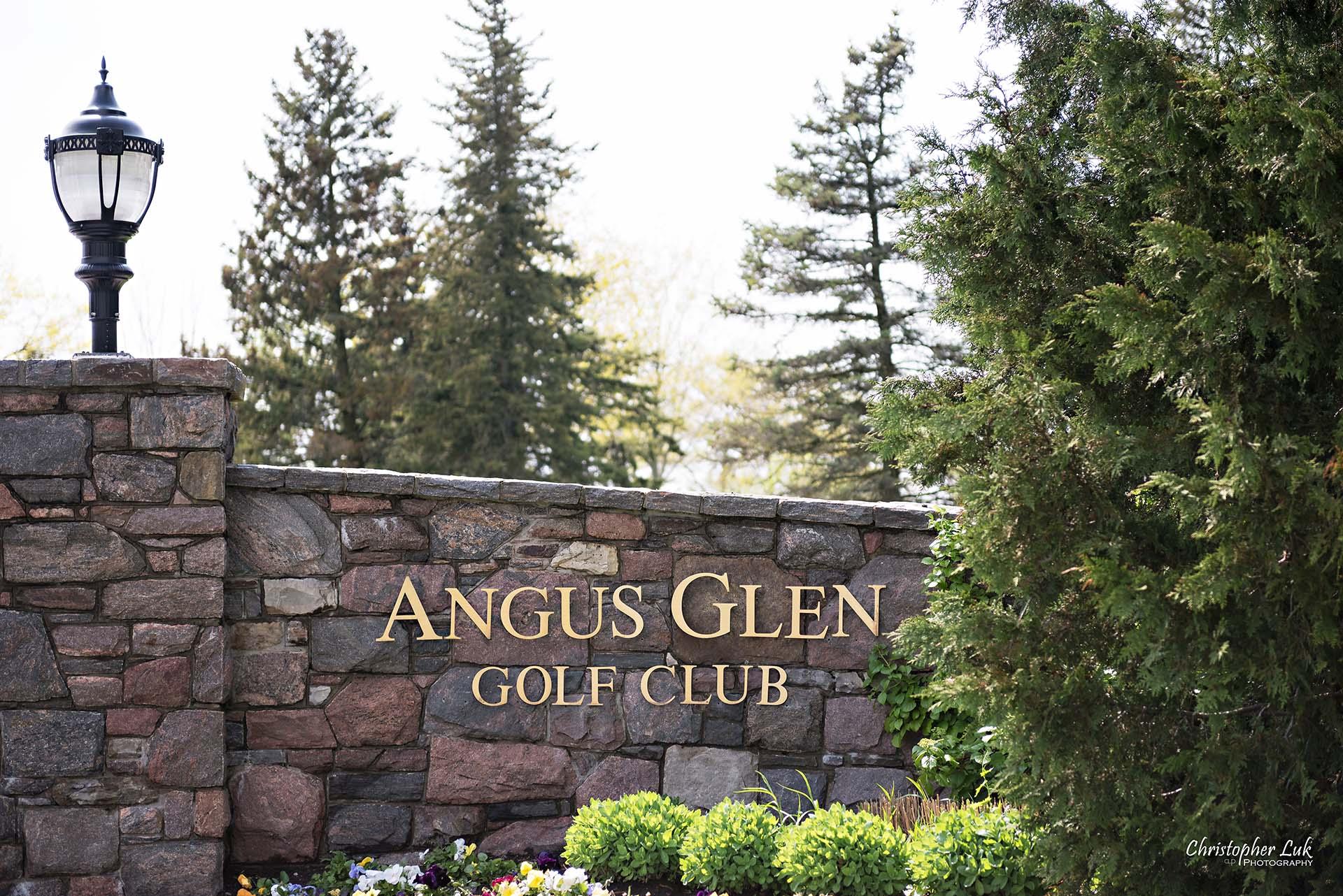 Christopher Luk Toronto Wedding Photographer Angus Glen Golf Club Markham Entrance Stone Sign Logo