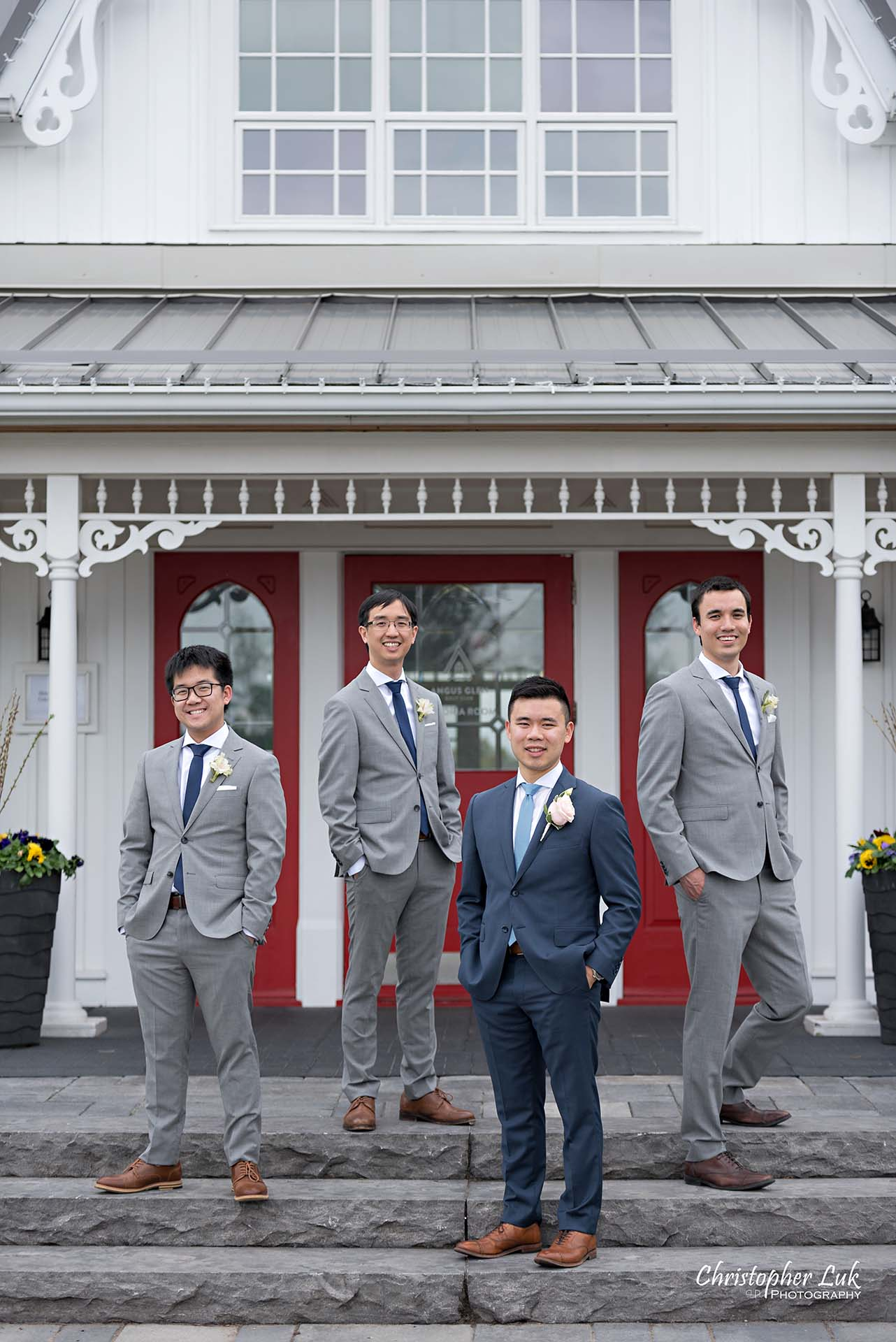 Christopher Luk Toronto Wedding Photographer Angus Glen Golf Club Markham Victoria Room Kennedy Loft Main Historic Estate Building Entrance Bridal Party Best Man Groomsmen Together Natural Candid Photojournalistic Cool Boy Band Album
