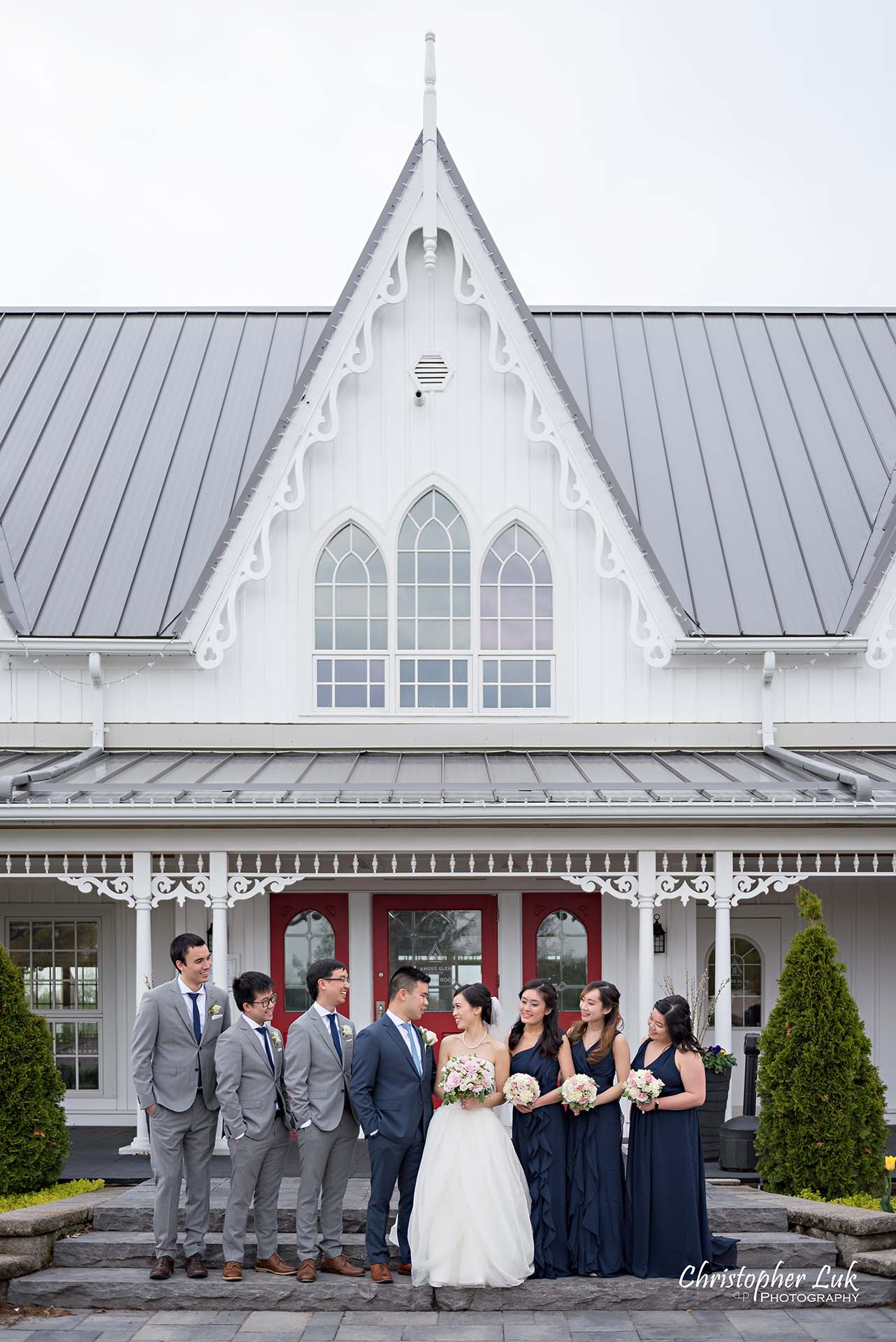 Christopher Luk Toronto Wedding Photographer Angus Glen Golf Club Markham Victoria Room Kennedy Loft Main Historic Estate Building Entrance Bridal Party Maid of Honour Best Man Groomsmen Bridesmaids Together Natural Candid Photojournalistic