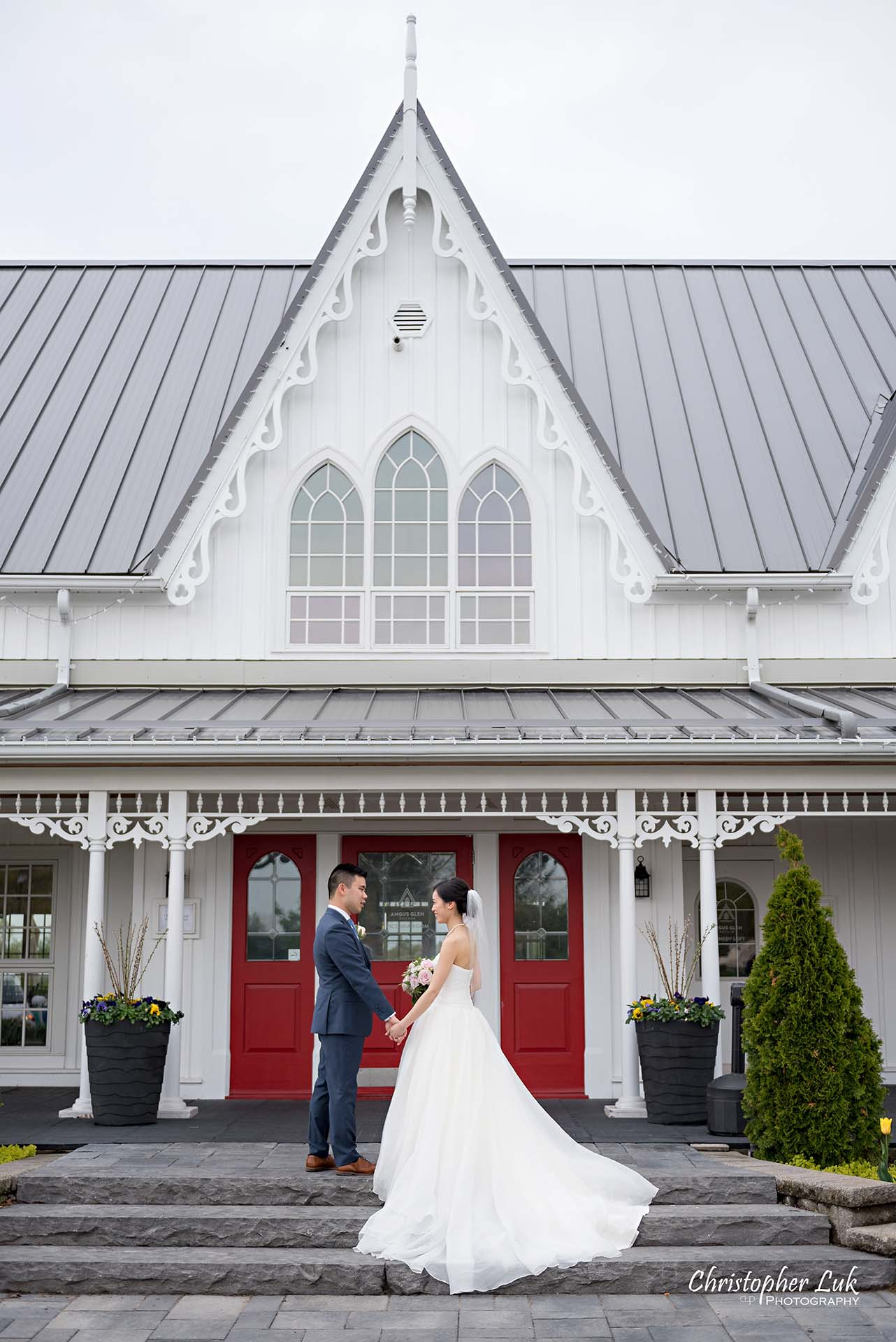 Christopher Luk Toronto Wedding Photographer Angus Glen Golf Club Markham Victoria Room Kennedy Loft Main Historic Estate Building Entrance Together Natural Candid Photojournalistic Bride Groom Bridal Gown Dress Train Staircase Looking Each Other Portrait