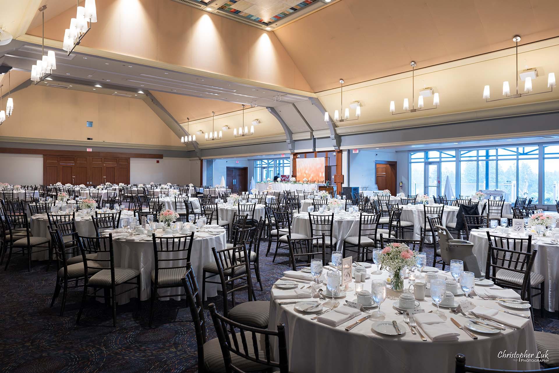 Christopher Luk Toronto Wedding Photographer Angus Glen Golf Club Markham Great Hall Dinner Reception Event Venue Round Tables Chiavari Chairs Wide Room Angle Corner