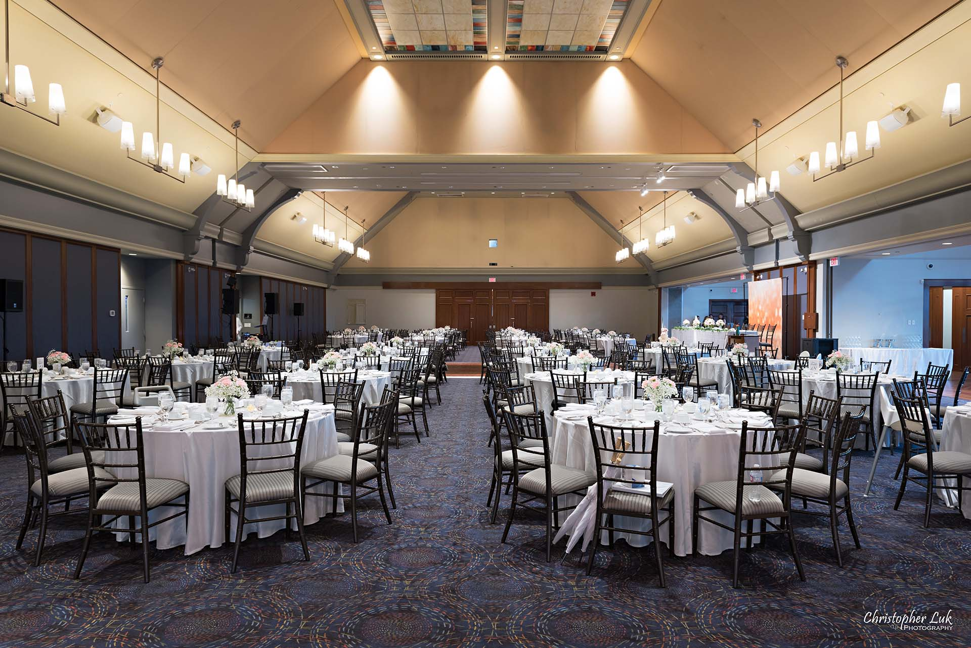 Christopher Luk Toronto Wedding Photographer Angus Glen Golf Club Markham Great Hall Dinner Reception Event Venue Round Tables Chiavari Chairs Wide Room Lobby Entrance
