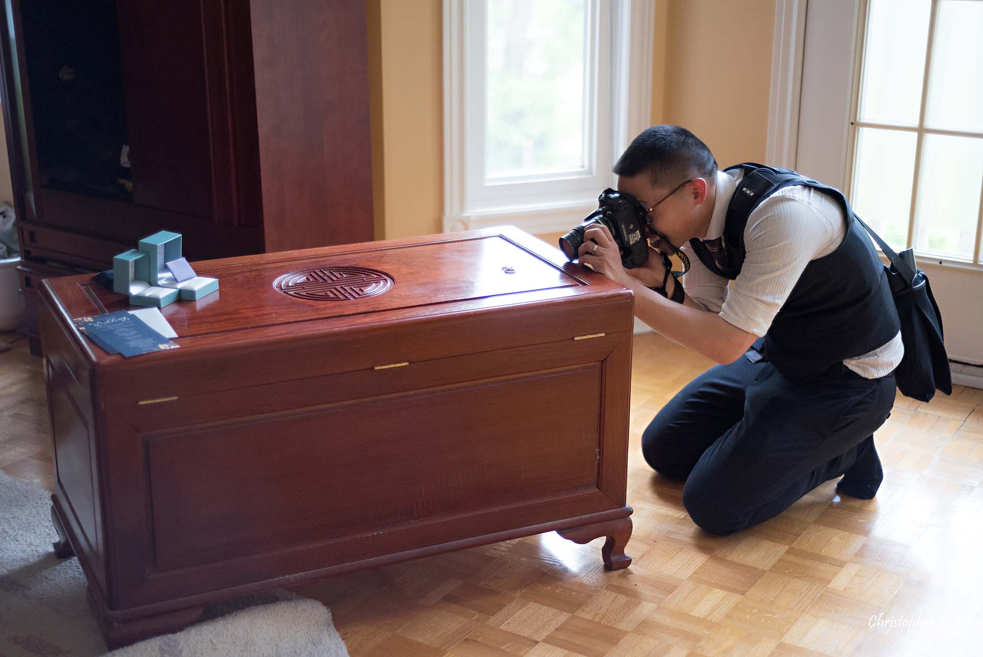 Christopher Luk Toronto Wedding Photographer Behind the Scenes Bride Getting Ready Home Wooden Chest Rings Bands Macro Lens Details