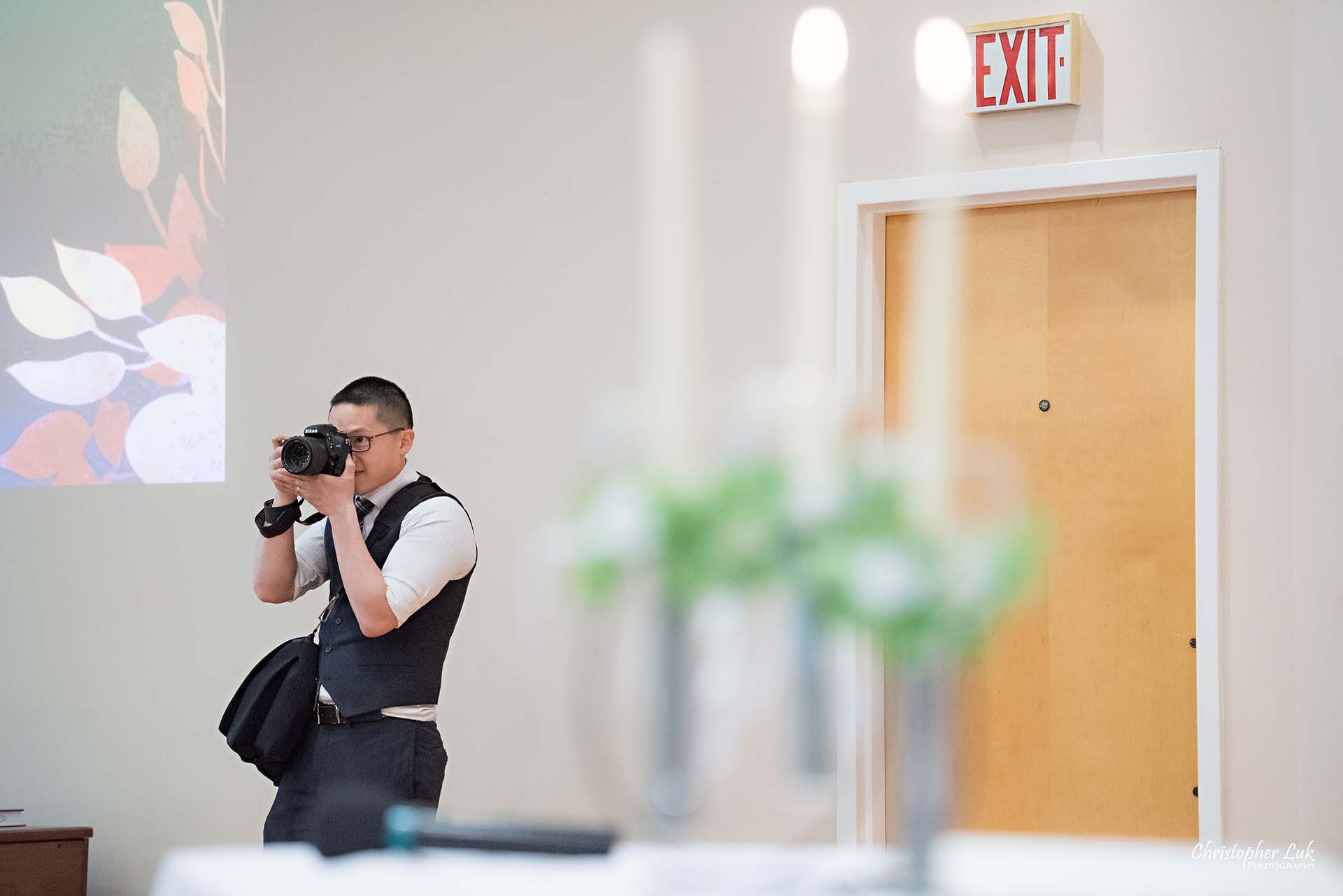 Christopher Luk Toronto Wedding Photographer Behind the Scenes Scarborough Chinese Gospel Church Toronto Ceremony Altar Stage Vows