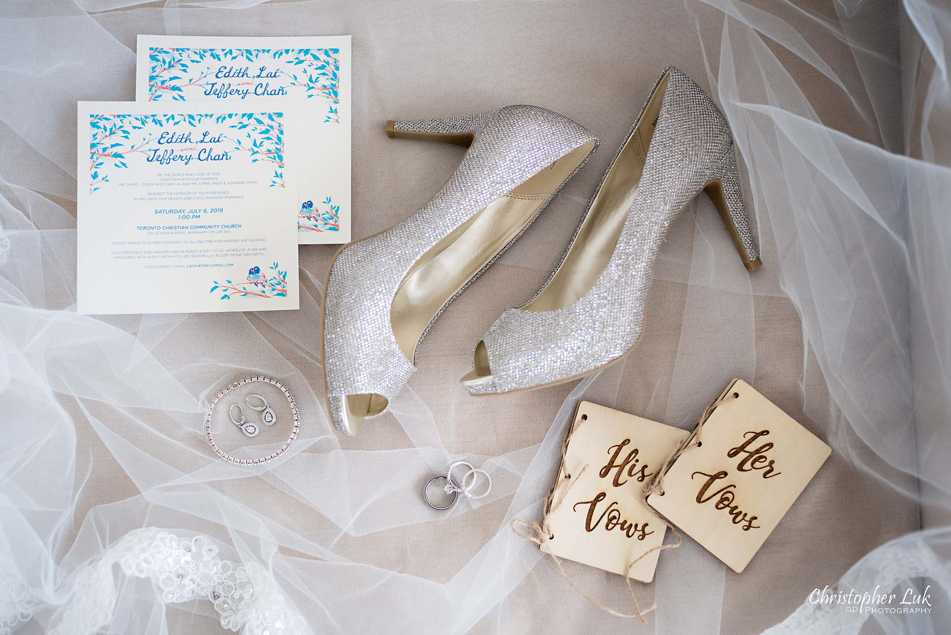 Christopher Luk Toronto Christian Community Church Kleinburg McMichael Art Gallery Vaughan Wedding Photographer Scarborough Wedding Details Bride Bridal Crystal Studded Shiny Glitter Silver High Heel Shoes Peep Toe Pumps Veil Laser Engraved Wooden Vow Vows Book Books Flat Lay Layflat Invitation Stationery Stationary Names Calligraphy Header Design Bracelet Earrings Rings Bands